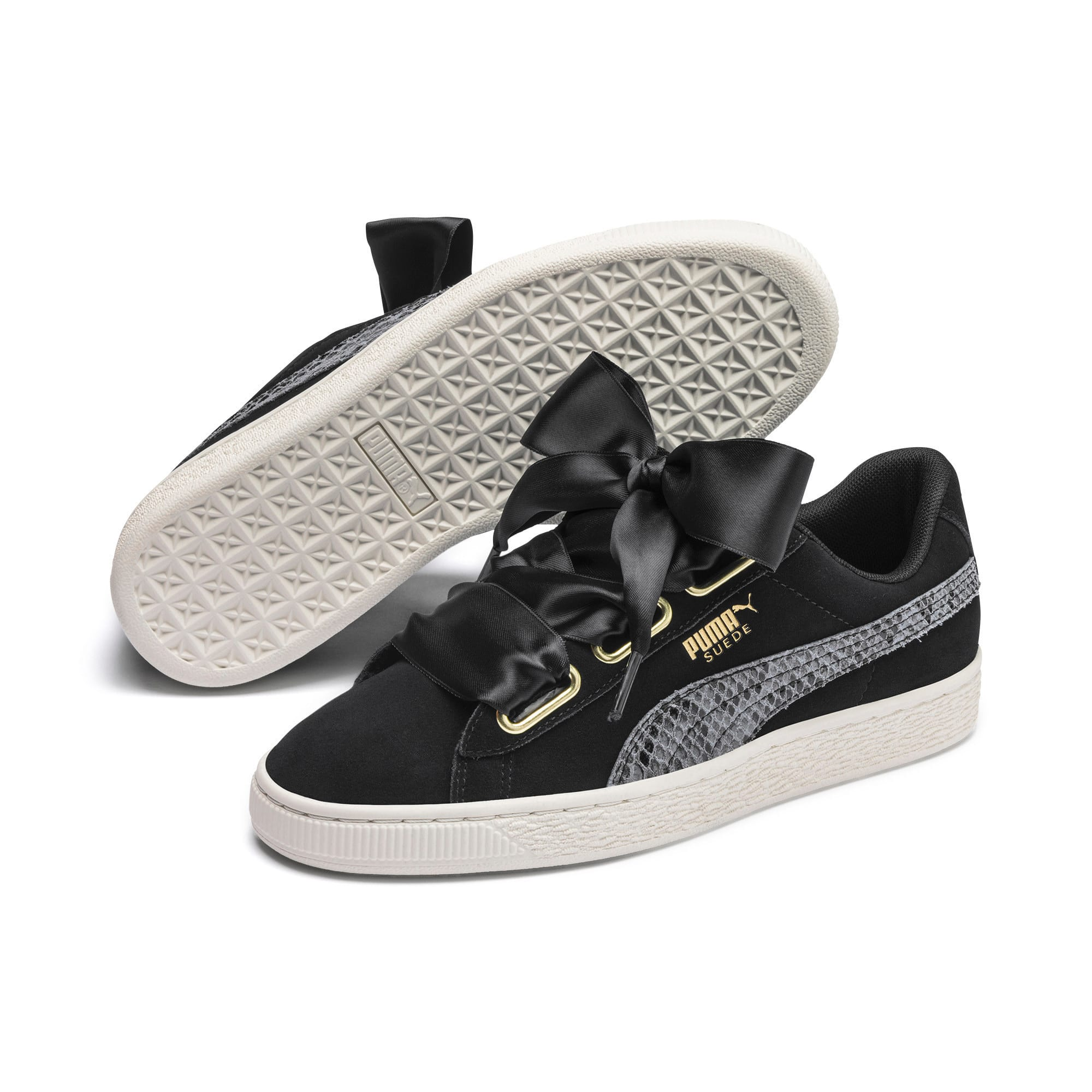 Thumbnail 8 of Suede Heart Snake Lux Women's Trainers, Puma Black-Puma Team Gold, medium-IND