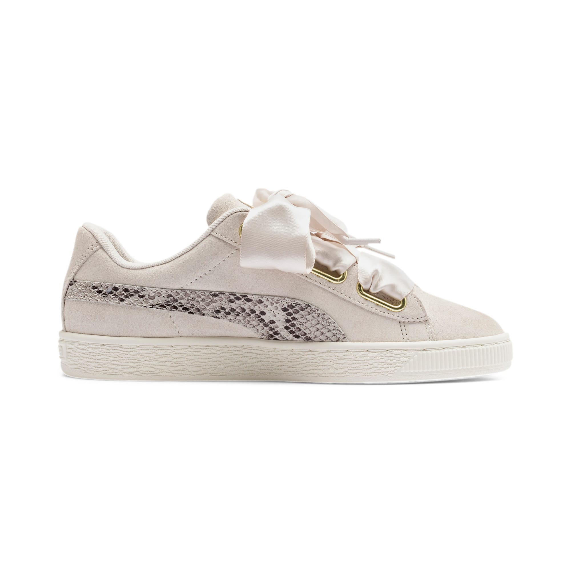 Thumbnail 6 of Suede Heart Snake Lux Women's Sneakers, Pastel Parchment-PTeam Gold, medium
