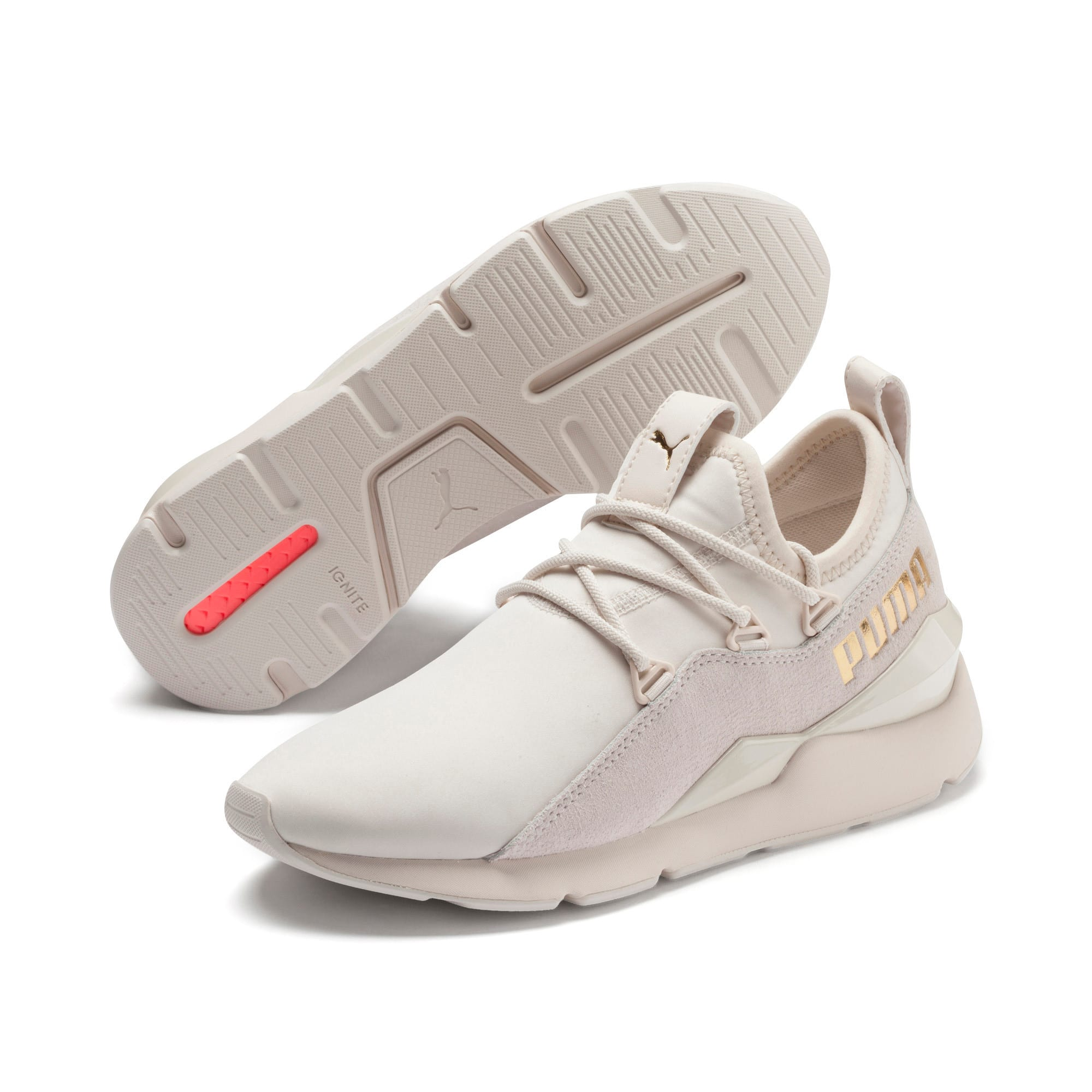 Thumbnail 4 of Muse 2 Metallic Women's Trainers, Pastel Parchment-PTeam Gold, medium-IND