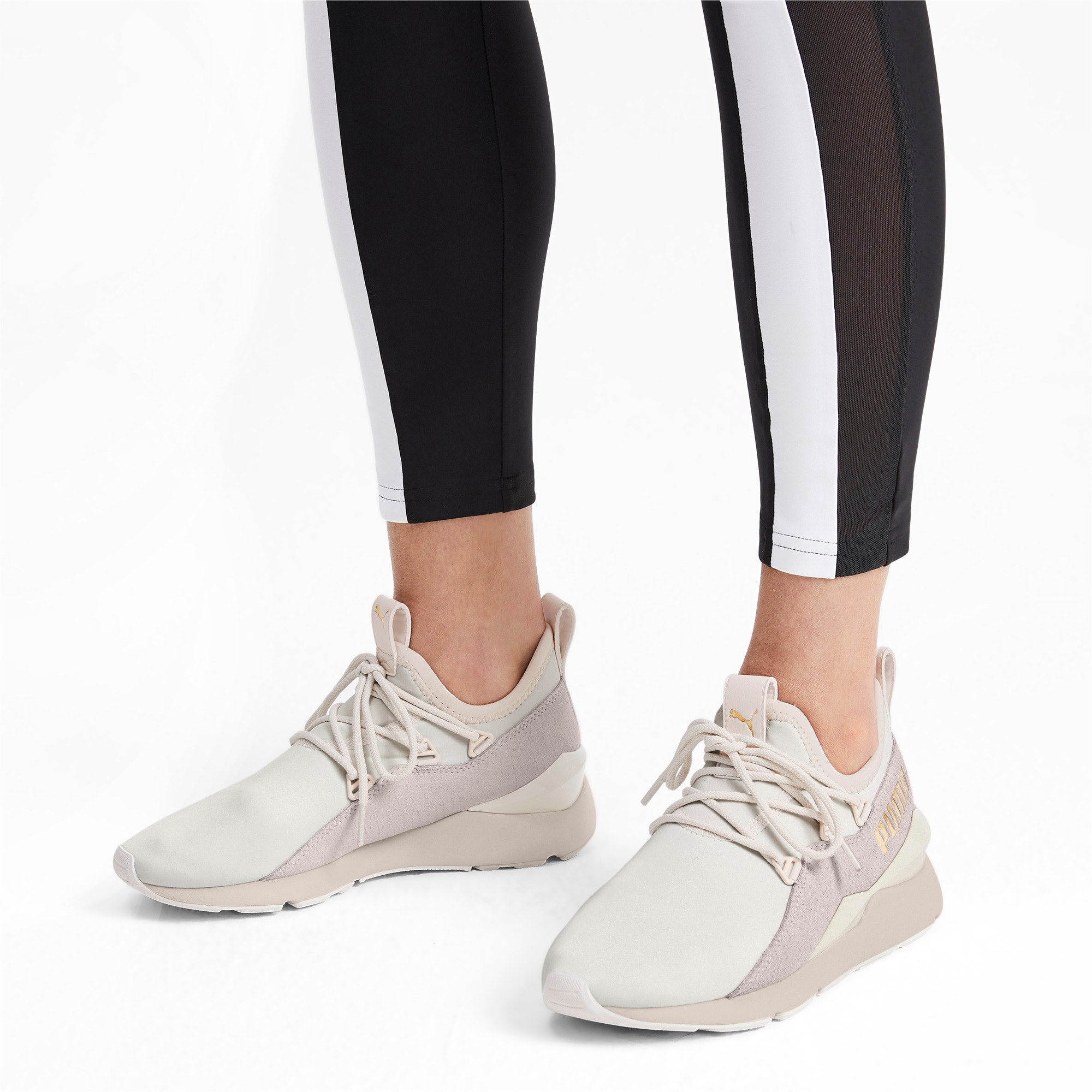 Thumbnail 2 of Muse 2 Metallic Women's Trainers, Pastel Parchment-PTeam Gold, medium-IND