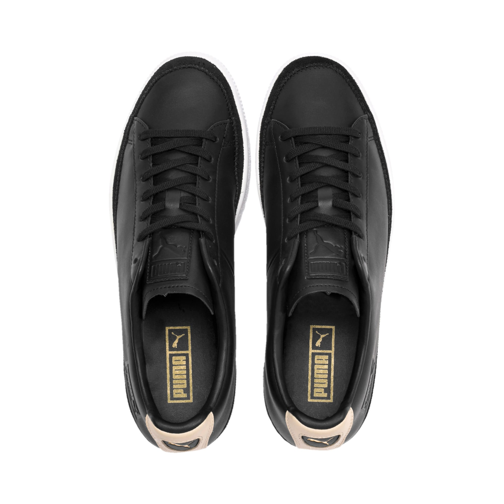 Thumbnail 7 of Basket Trim Block Trainers, P Blk-Puma Team Gold-P Wht, medium