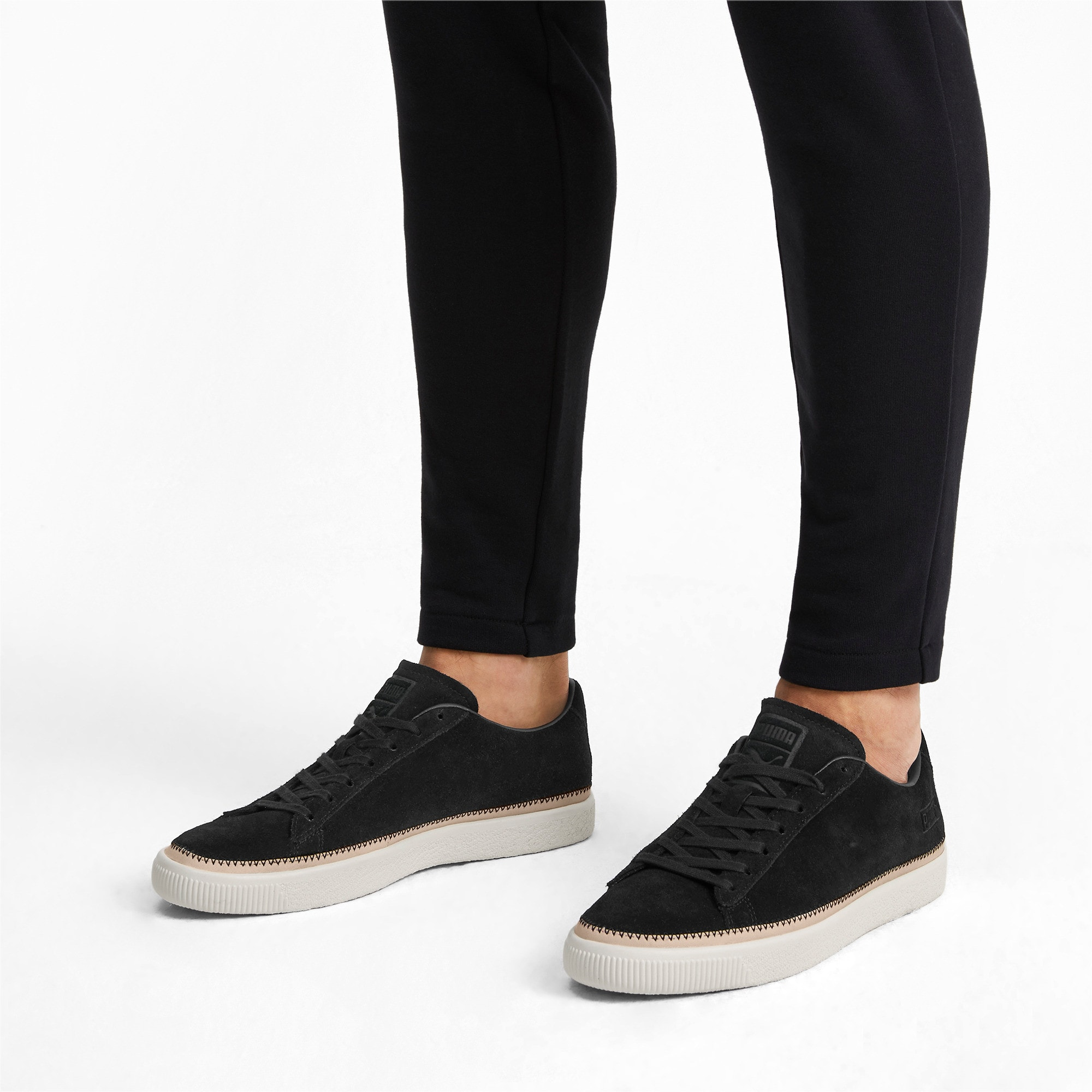 Thumbnail 2 of Suede Trim PRM Sneakers, Puma Black-Whisper White, medium