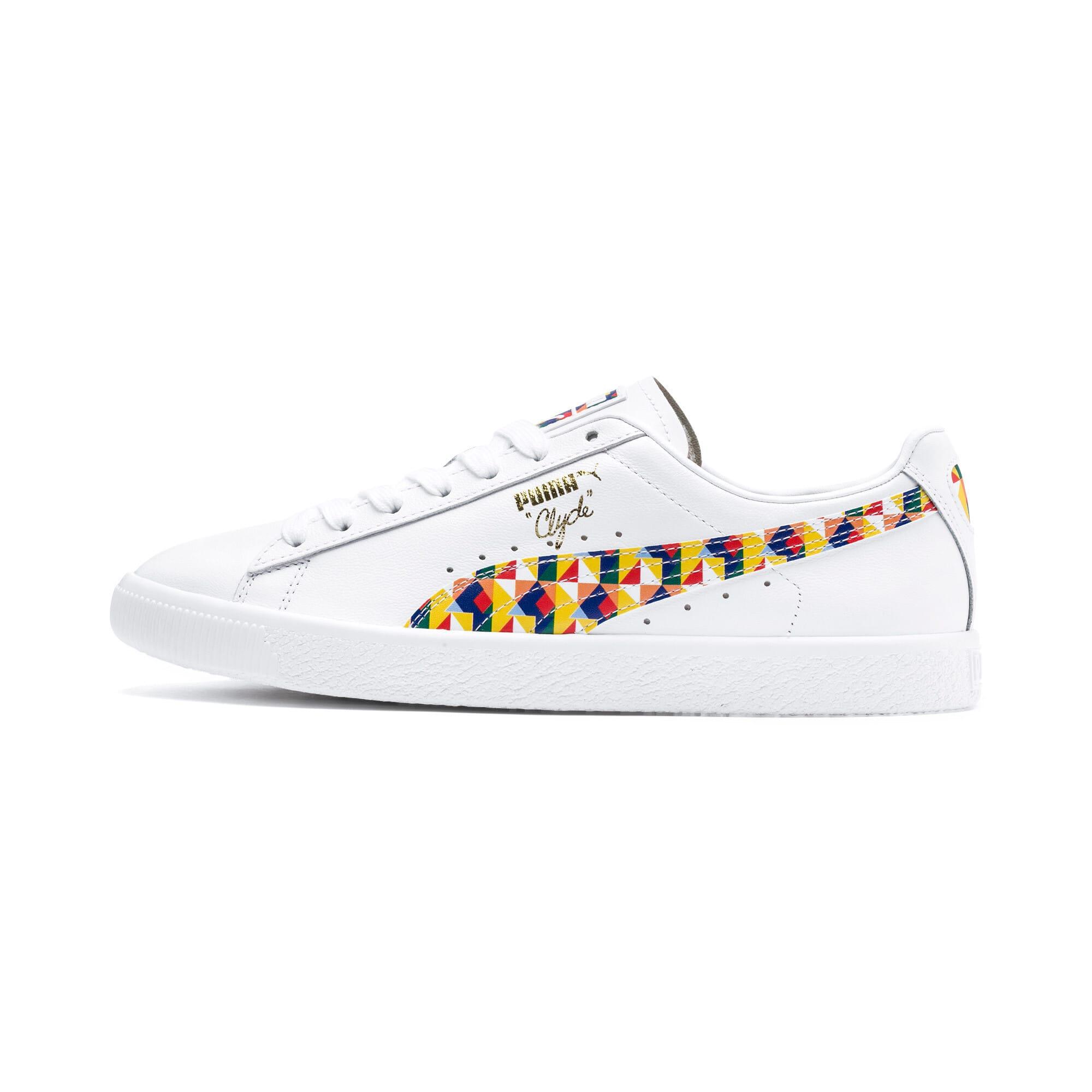 Thumbnail 1 of Clyde Graffiti Sneakers, Puma Wht-Dandelion-Puma Wht, medium
