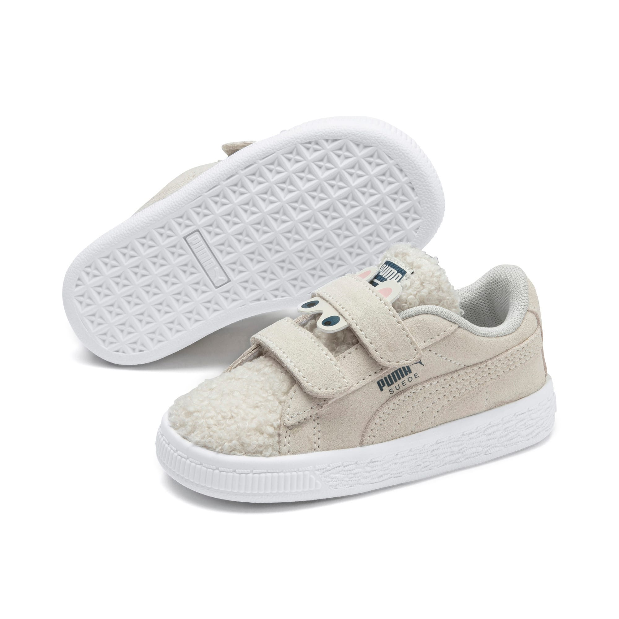 Suede Winter Monster Babies' Trainers, Whisper White-Gibraltar Sea, large
