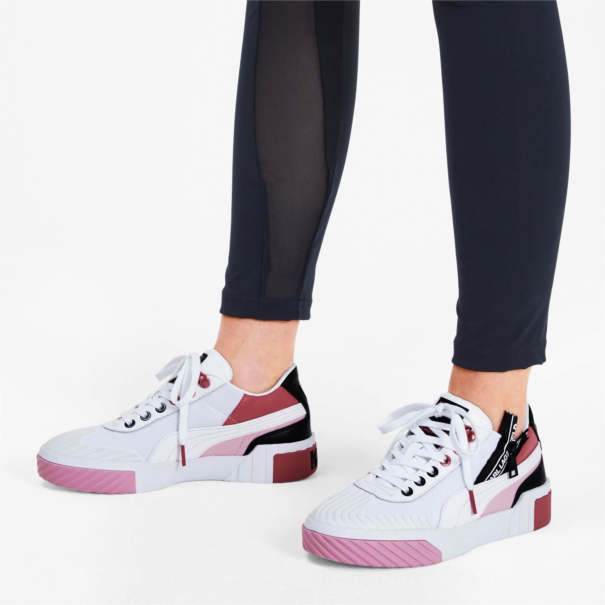 PUMA x KARL LAGERFELD Cali Women's Sneakers, Puma White-PRISM PINK, large