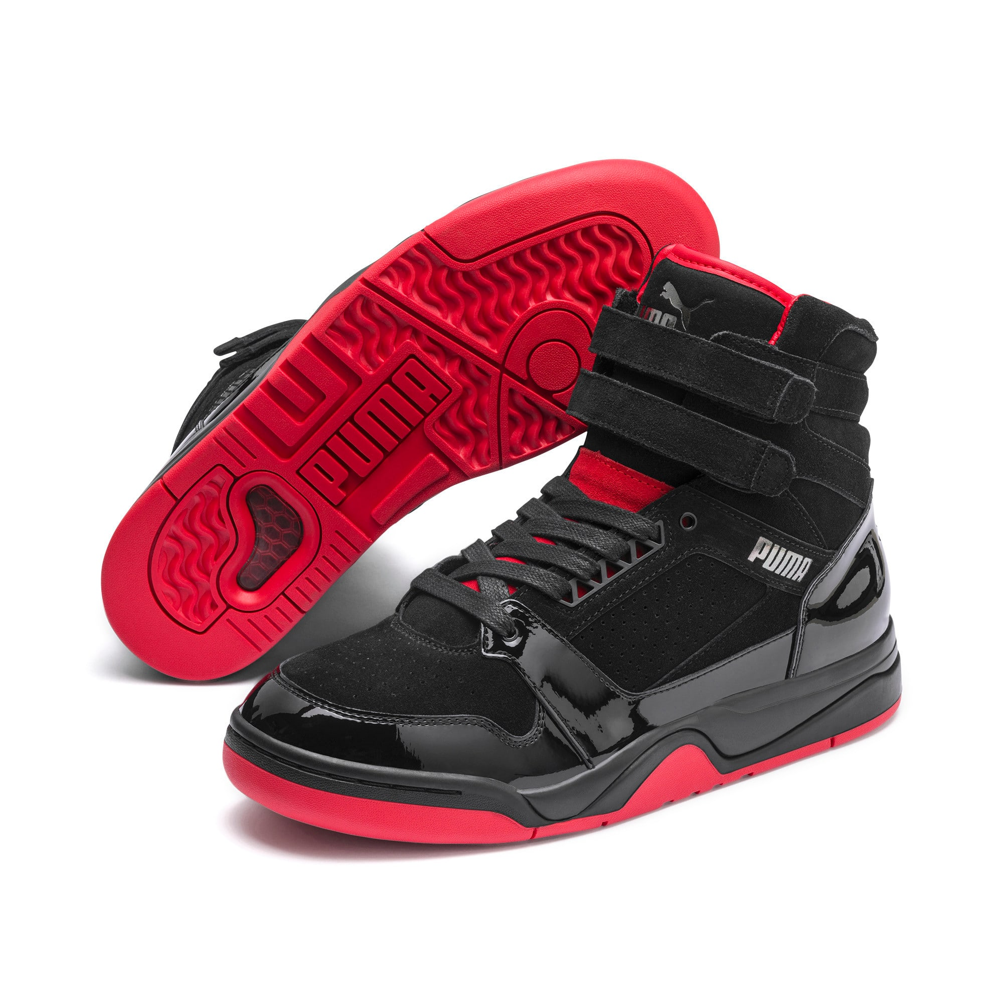 Thumbnail 3 of Palace Guard Red Carpet Mid-Cut Basketball Shoes, Puma Black-Risk Red-Bronze, medium