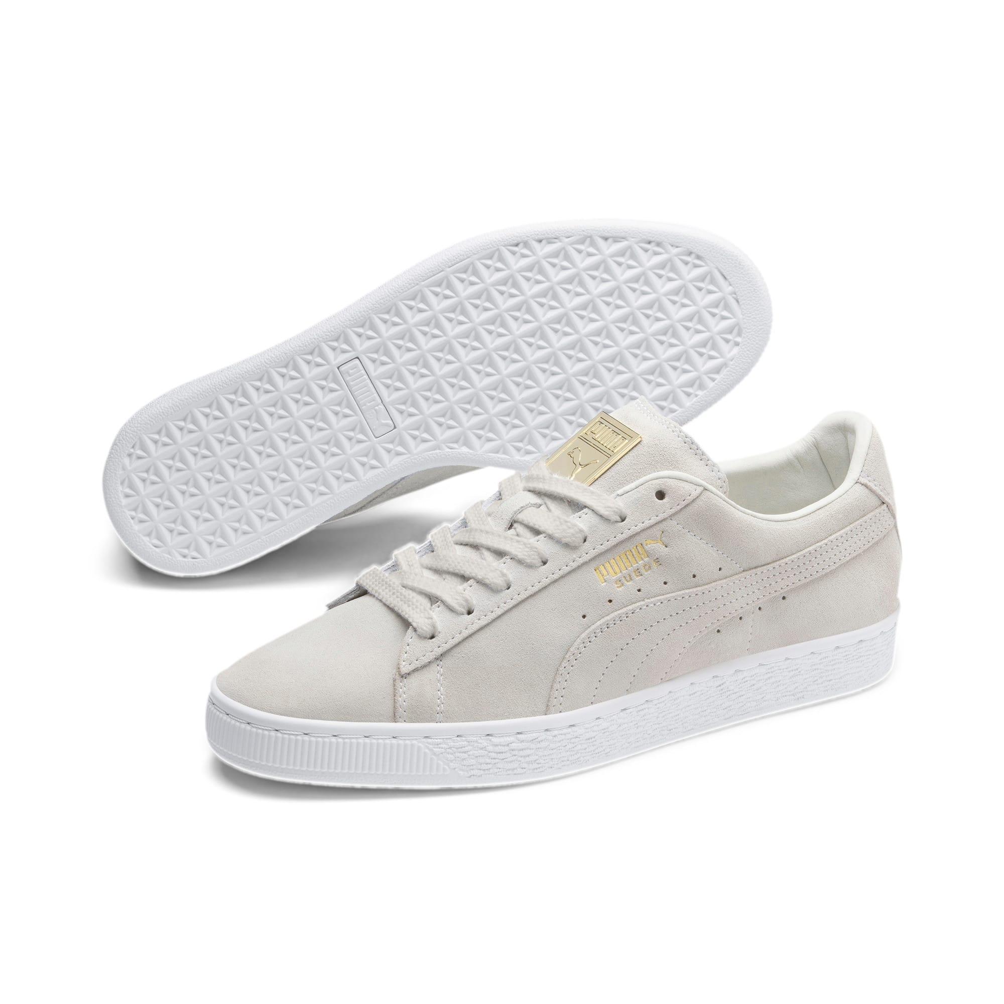 Thumbnail 3 of Suede Classic Metal Badge Sneakers, Puma White-White-Team Gold, medium