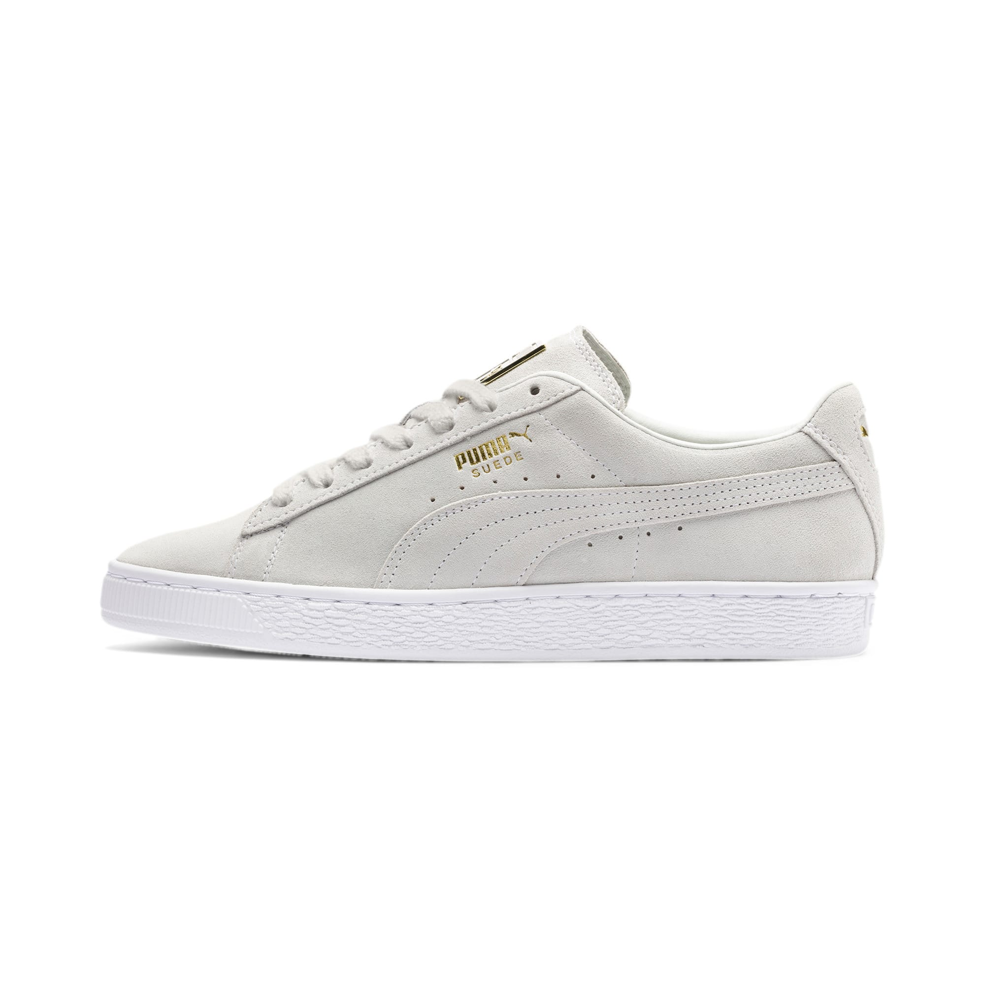 Thumbnail 1 of Suede Classic Metal Badge sportschoenen, Puma White-White-Team Gold, medium