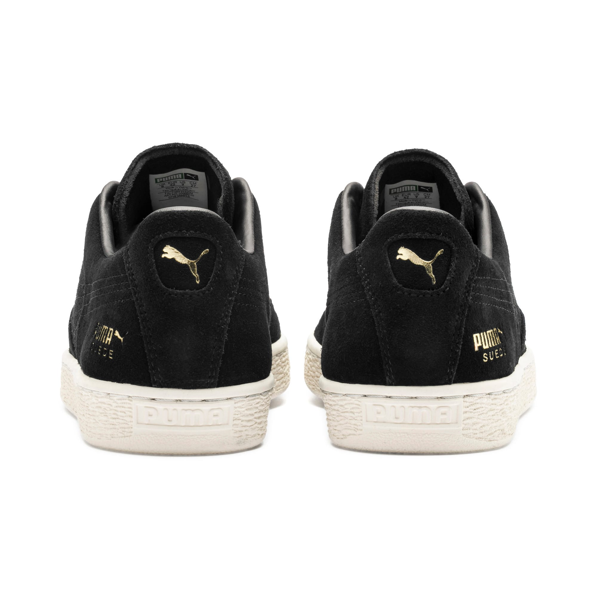 Thumbnail 4 of Suede Notch Trainers, Puma Black-White-gold, medium