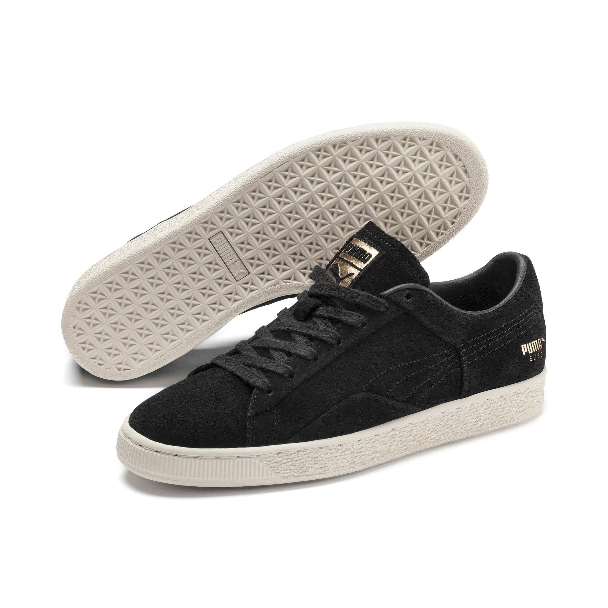 Thumbnail 3 of Suede Notch Trainers, Puma Black-White-gold, medium