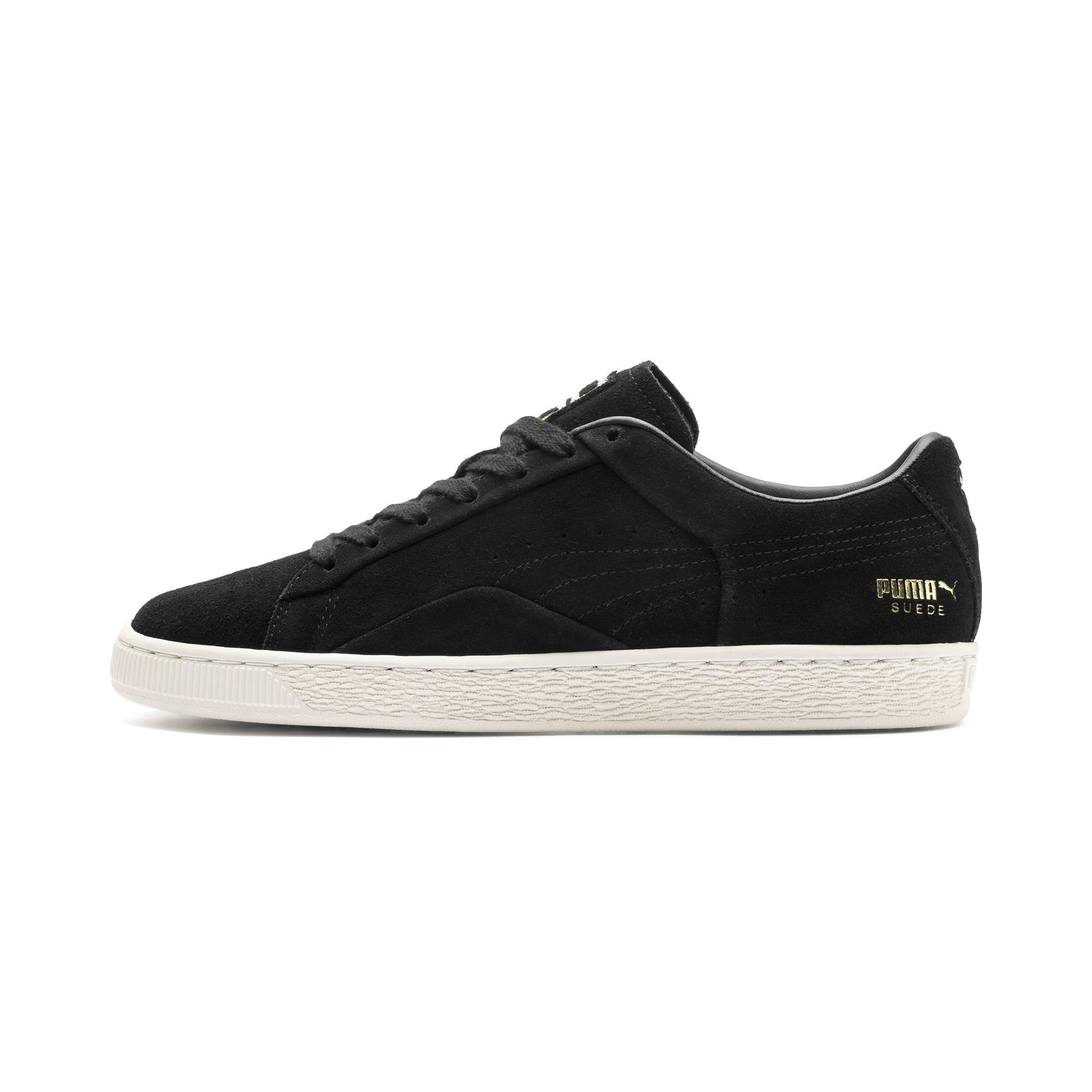 Thumbnail 1 of Suede Notch Trainers, Puma Black-White-gold, medium