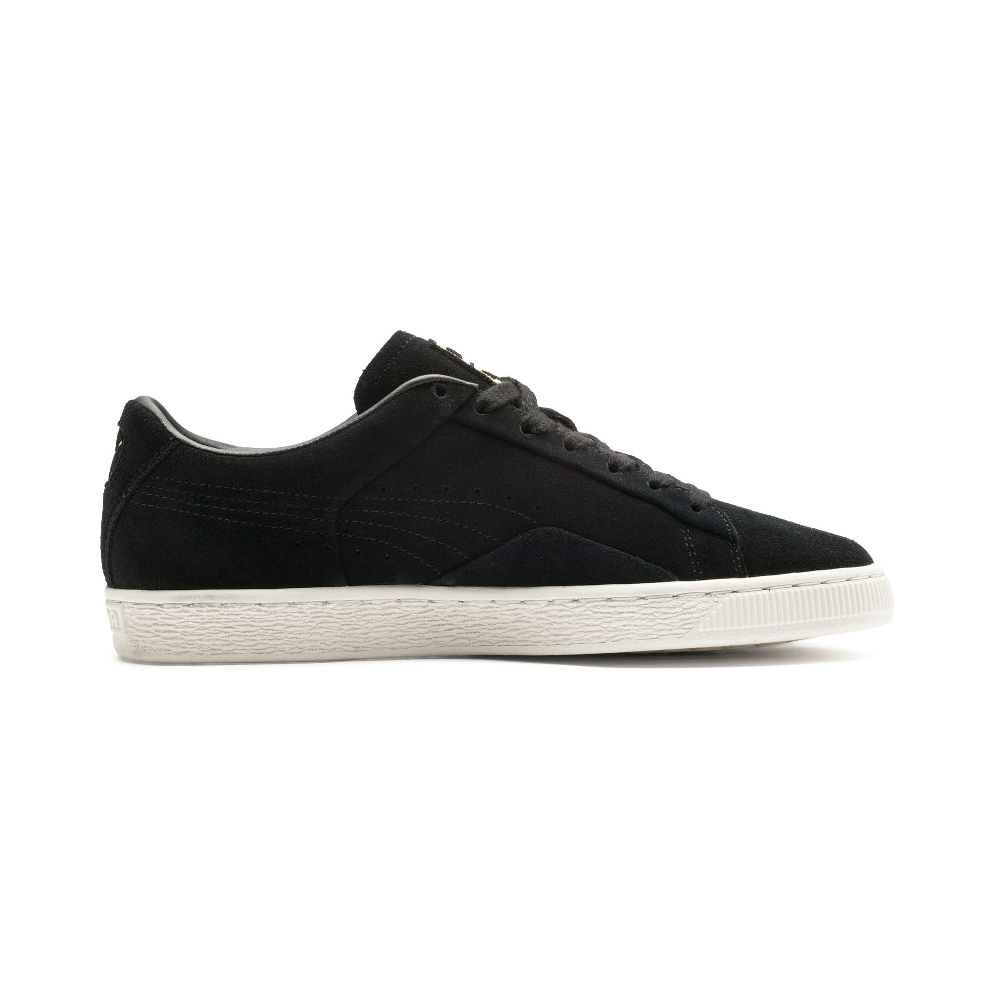 Thumbnail 6 of Suede Notch Trainers, Puma Black-White-gold, medium