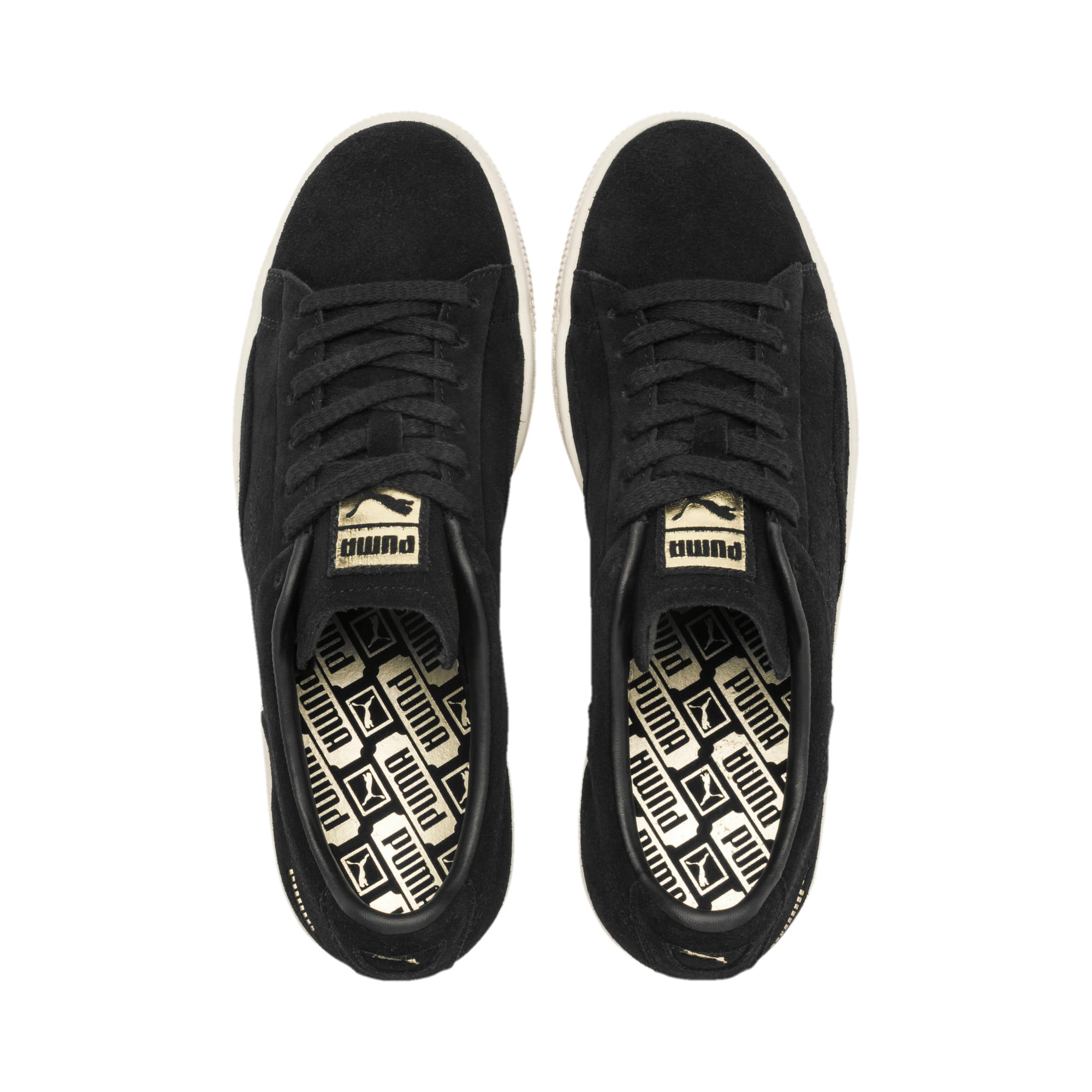 Thumbnail 7 of Suede Notch Trainers, Puma Black-White-gold, medium