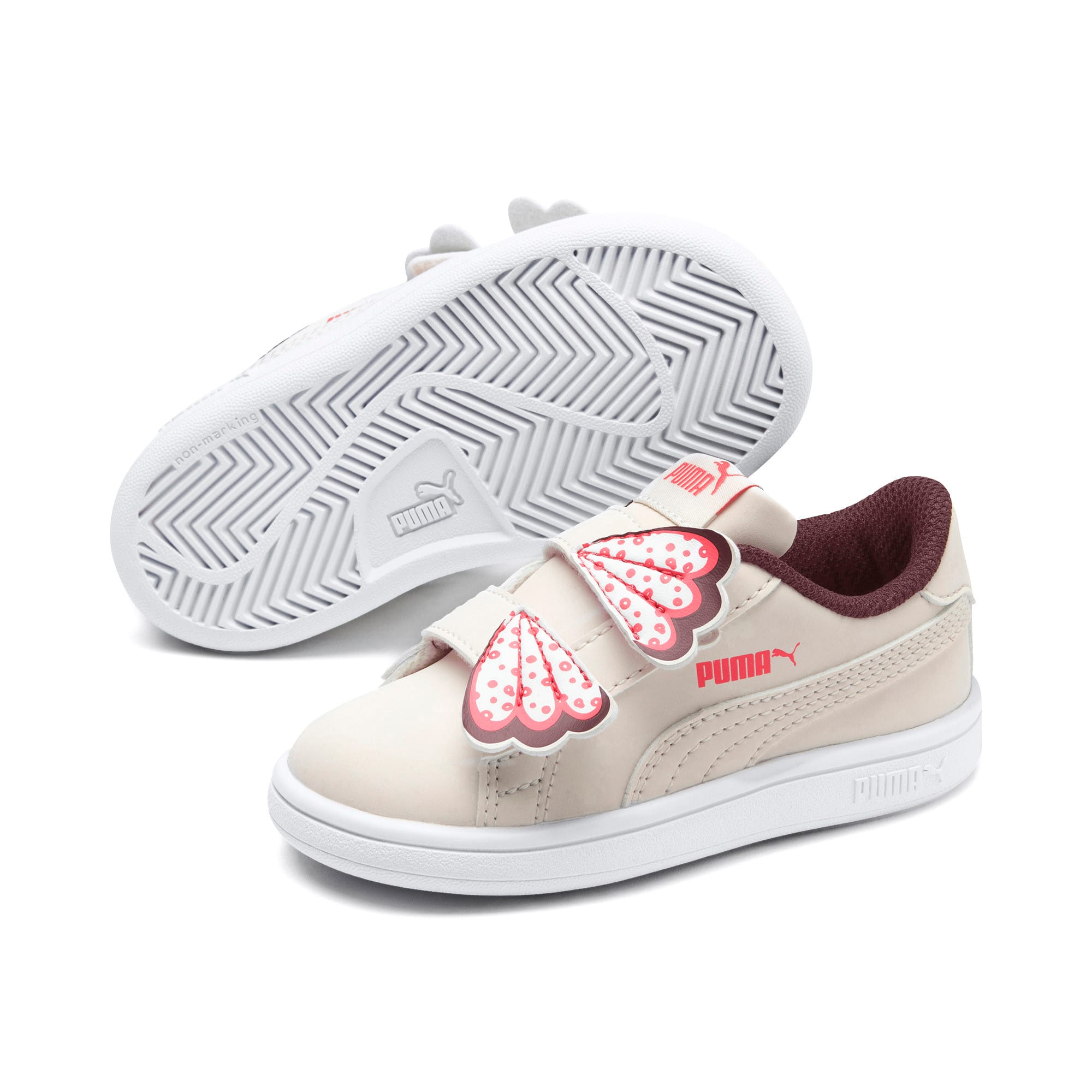 Thumbnail 2 of PUMA Smash v2 Butterfly Baby Girls' Trainers, Pastel Parchment-Vineyard, medium