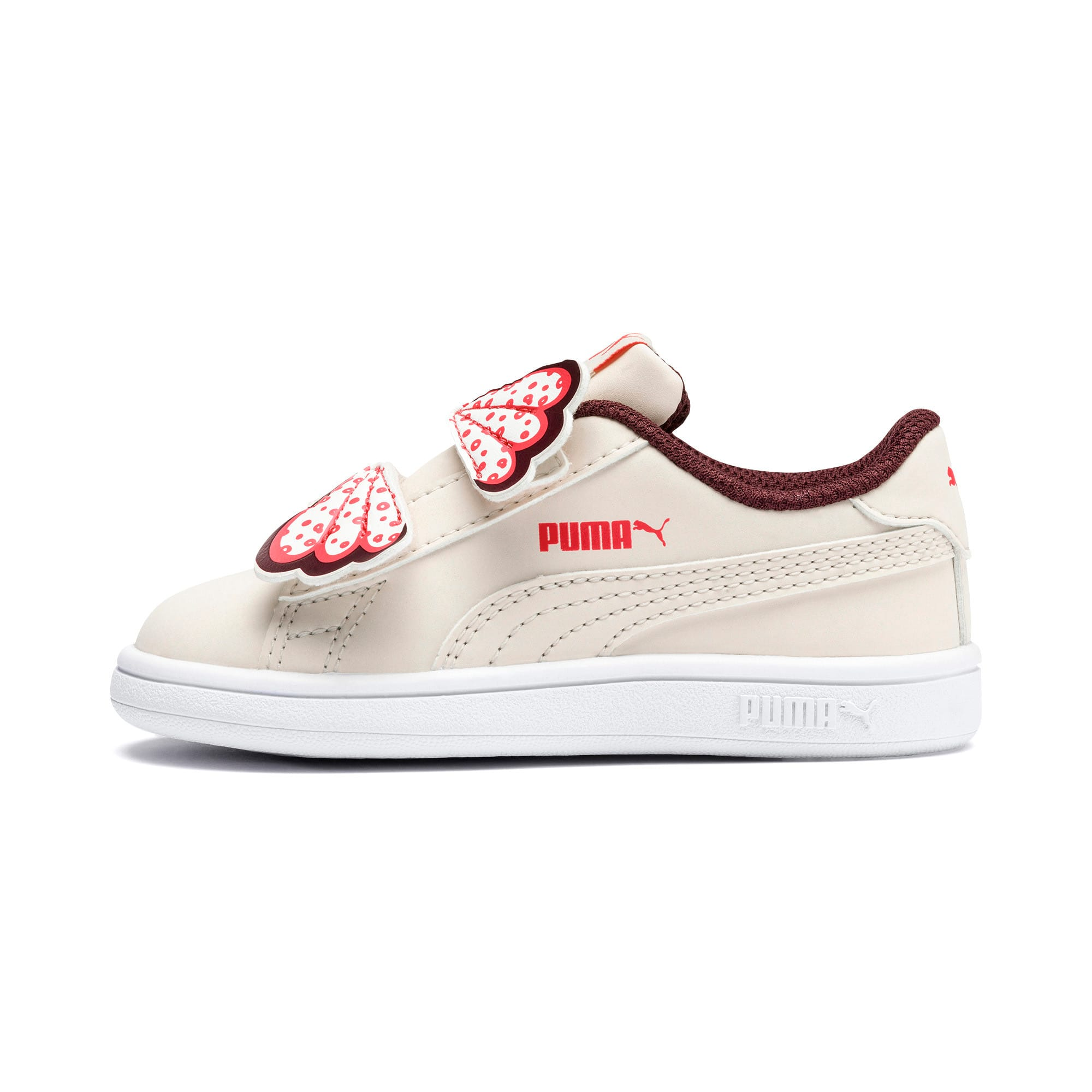 Thumbnail 1 of PUMA Smash v2 Butterfly Baby Girls' Trainers, Pastel Parchment-Vineyard, medium