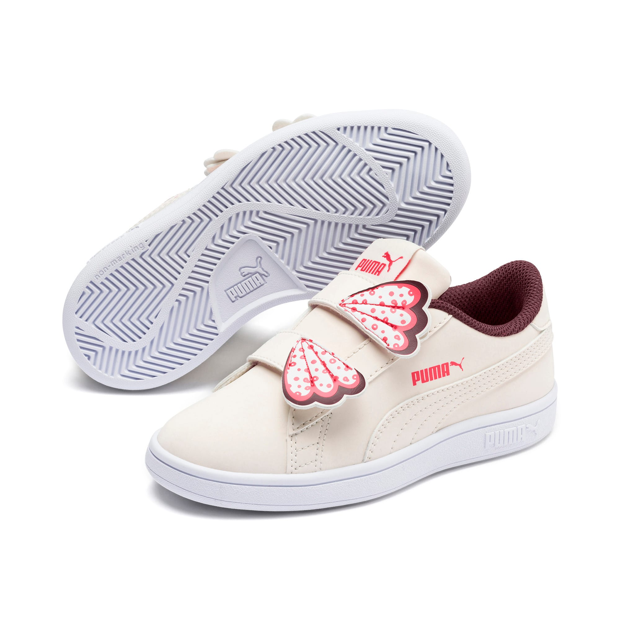 Thumbnail 2 of PUMA Smash v2 Butterfly Kid Girls' Trainers, Pastel Parchment-Vineyard, medium