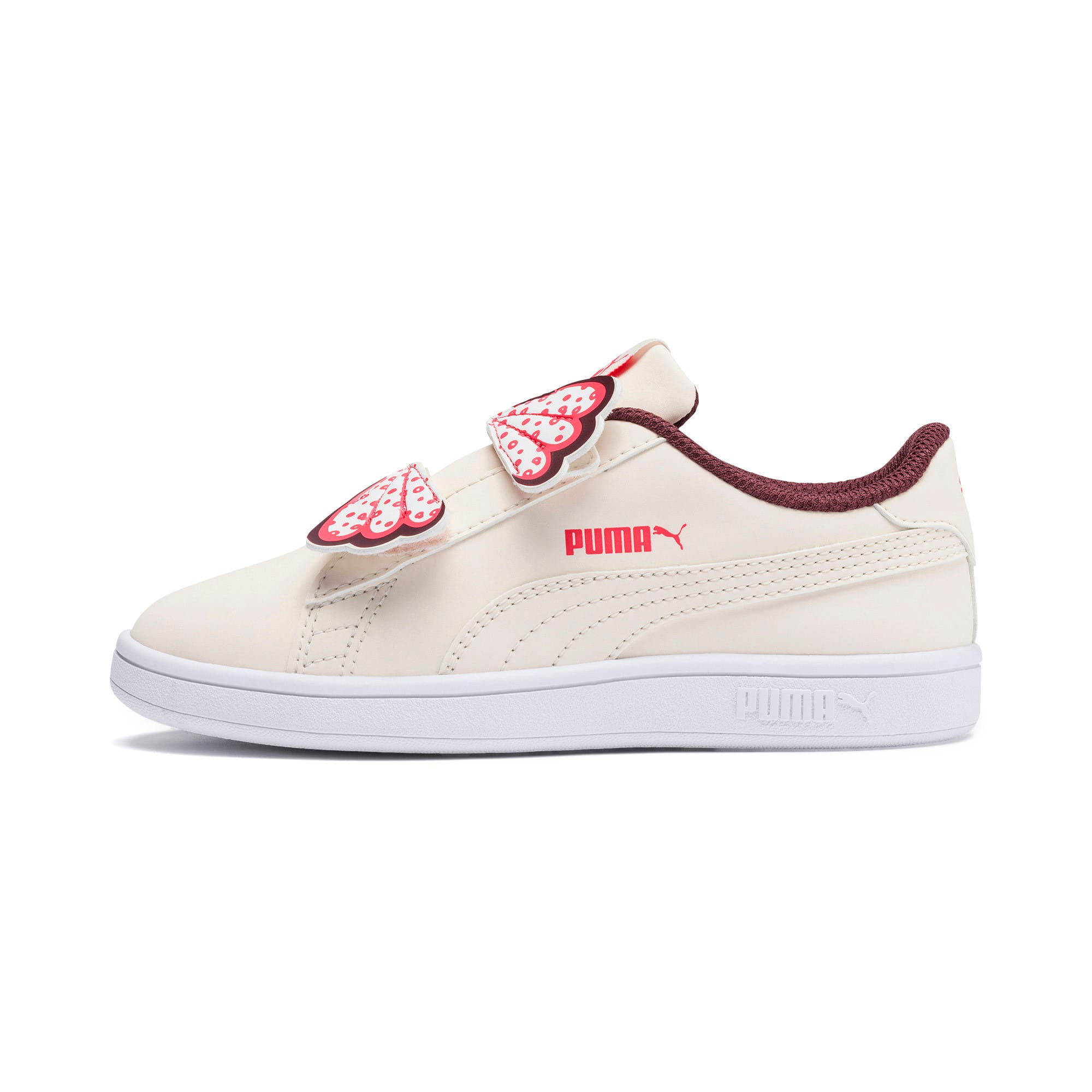 Thumbnail 1 of PUMA Smash v2 Butterfly Kid Girls' Trainers, Pastel Parchment-Vineyard, medium