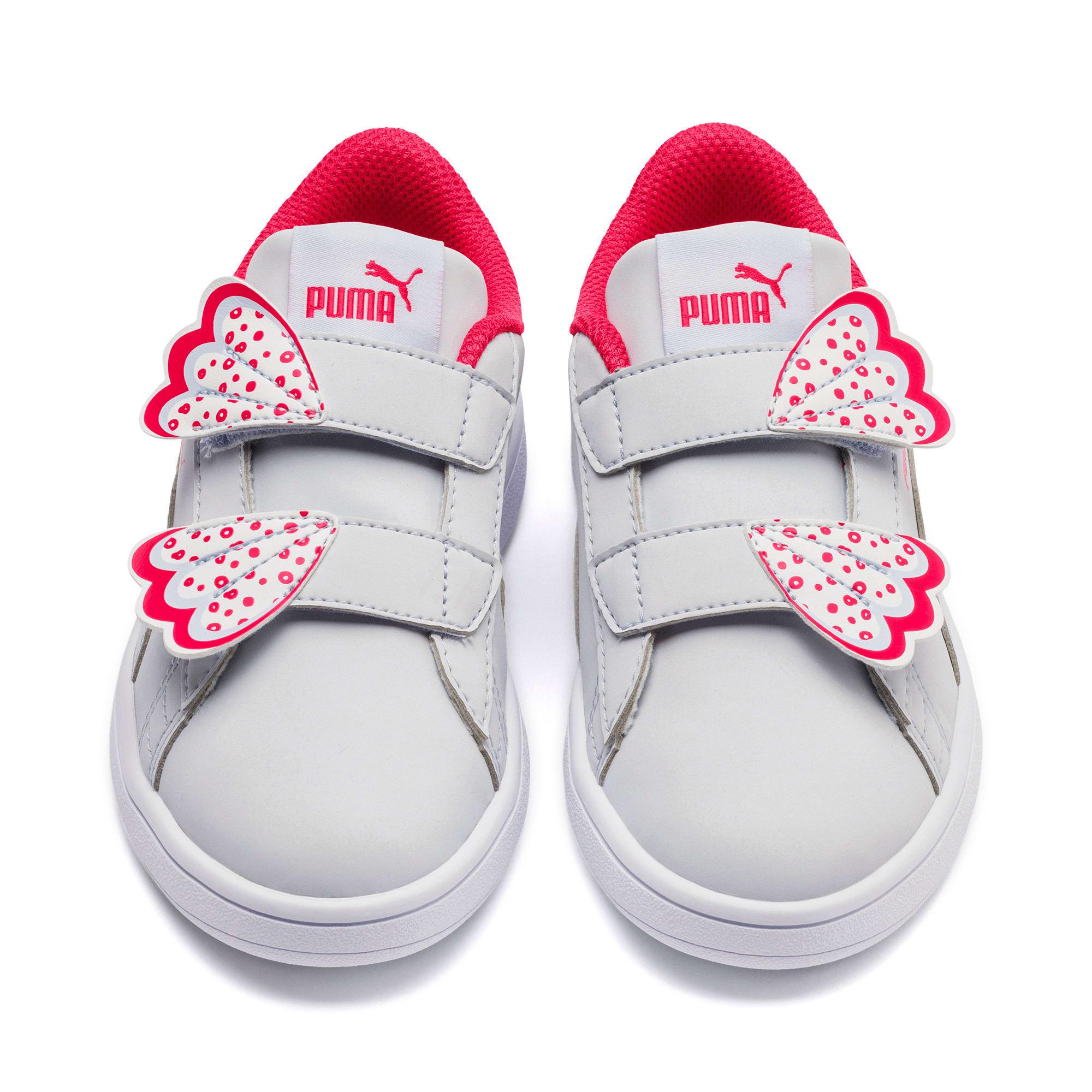 Thumbnail 7 of Puma Smash v2 Butterfly Little Kids' Shoes, Heather-Nrgy Rose-Puma White, medium