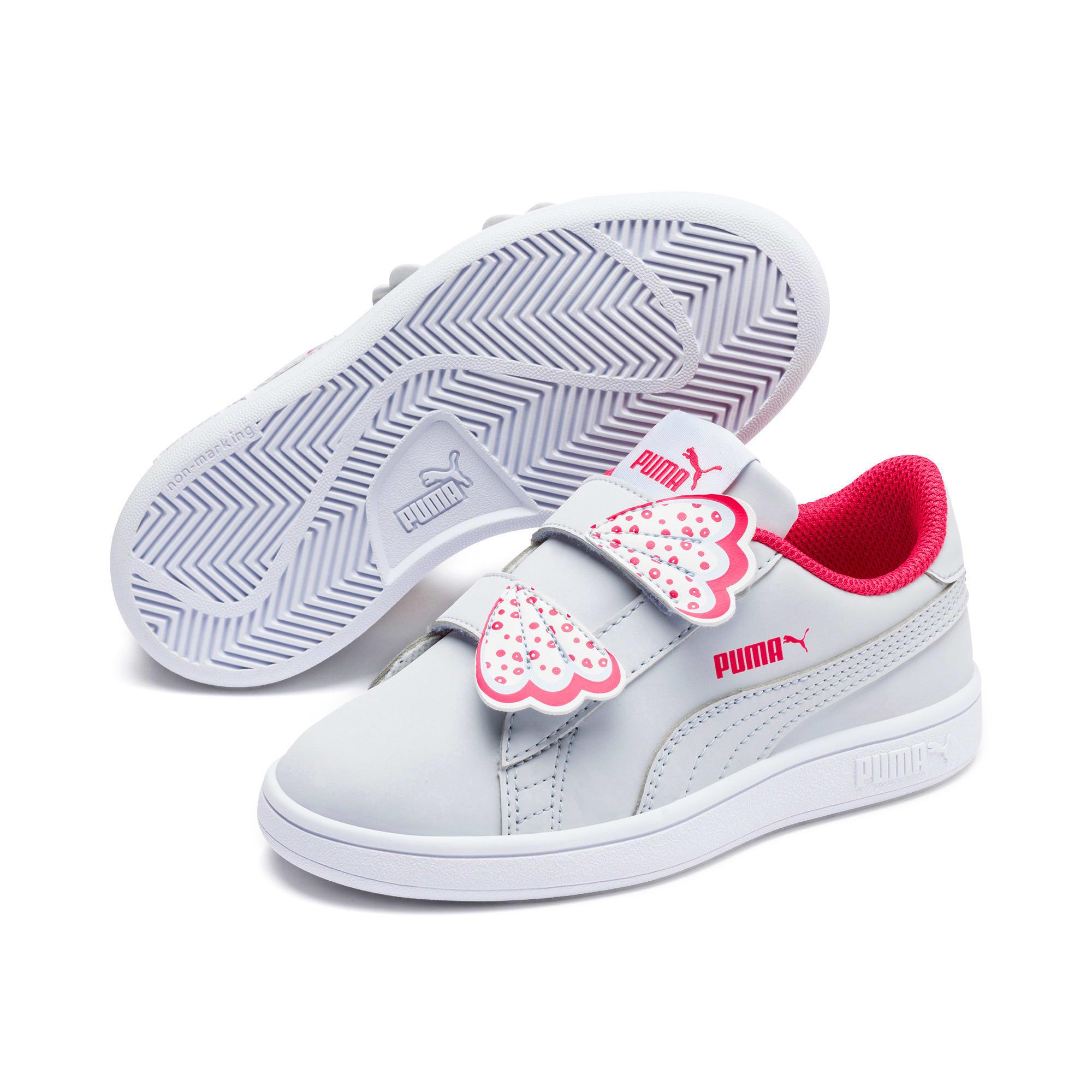 Thumbnail 2 of Puma Smash v2 Butterfly Little Kids' Shoes, Heather-Nrgy Rose-Puma White, medium