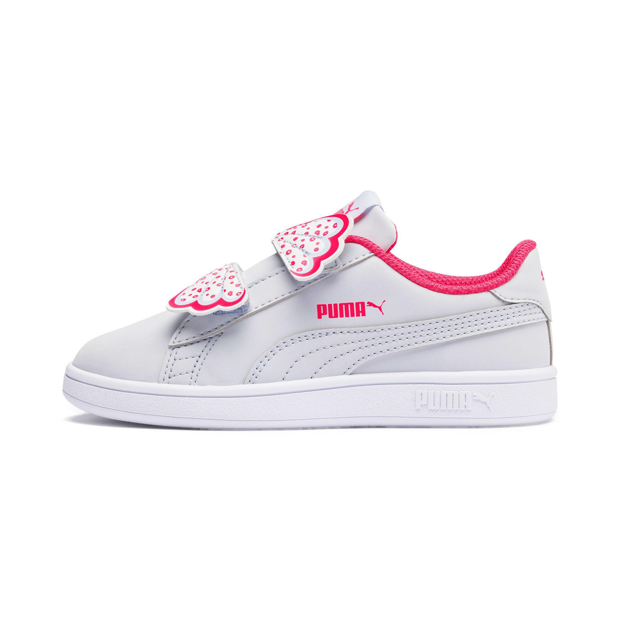 Thumbnail 1 of Puma Smash v2 Butterfly Little Kids' Shoes, Heather-Nrgy Rose-Puma White, medium
