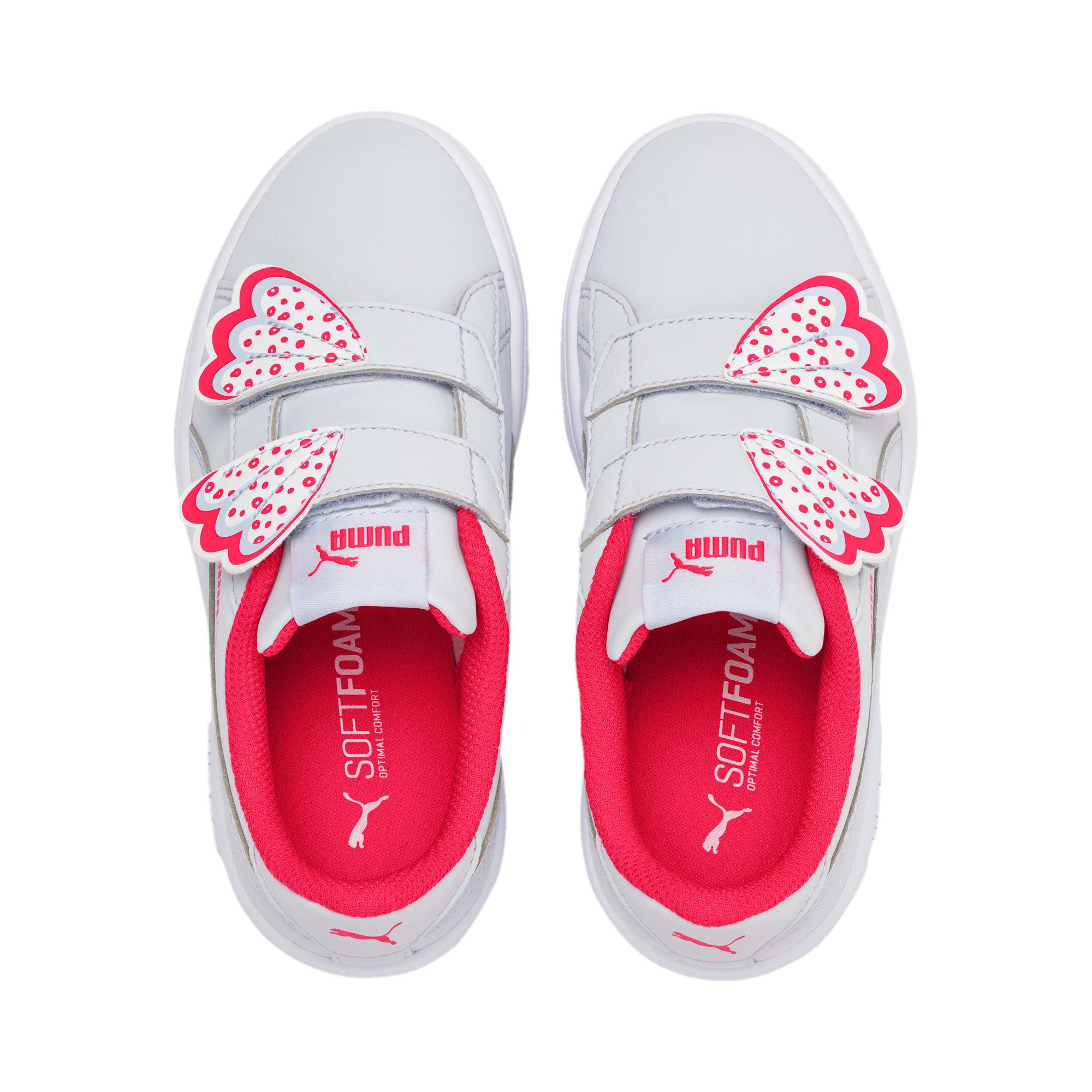 Thumbnail 6 of Puma Smash v2 Butterfly Little Kids' Shoes, Heather-Nrgy Rose-Puma White, medium