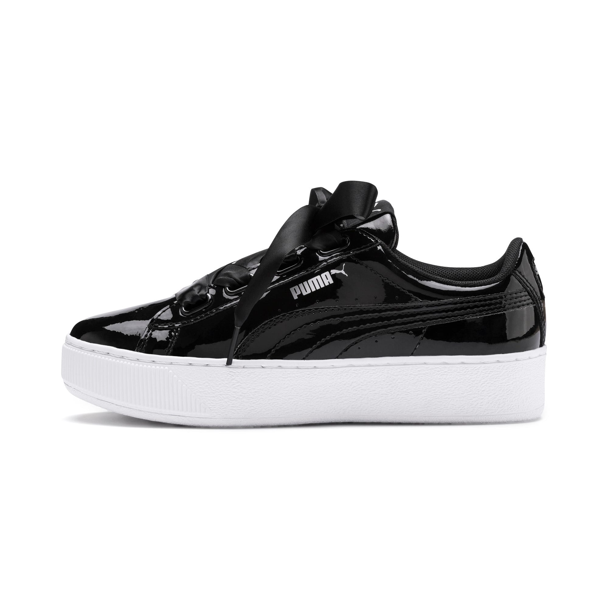 Thumbnail 1 of Vikky Platform Ribbon Patent Girls' Trainers, Puma Black-Puma Black, medium