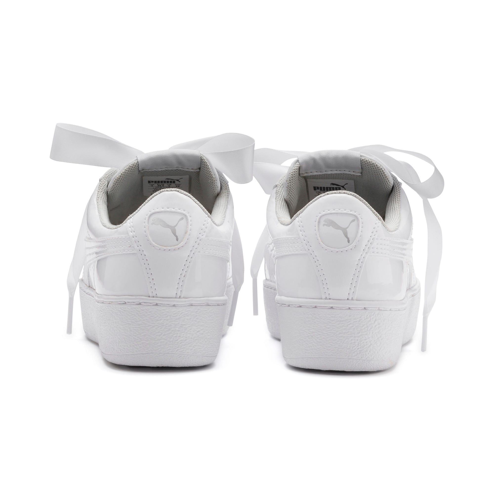 Thumbnail 3 of Vikky Platform Ribbon Patent Girls' Trainers, Puma White-Puma White, medium
