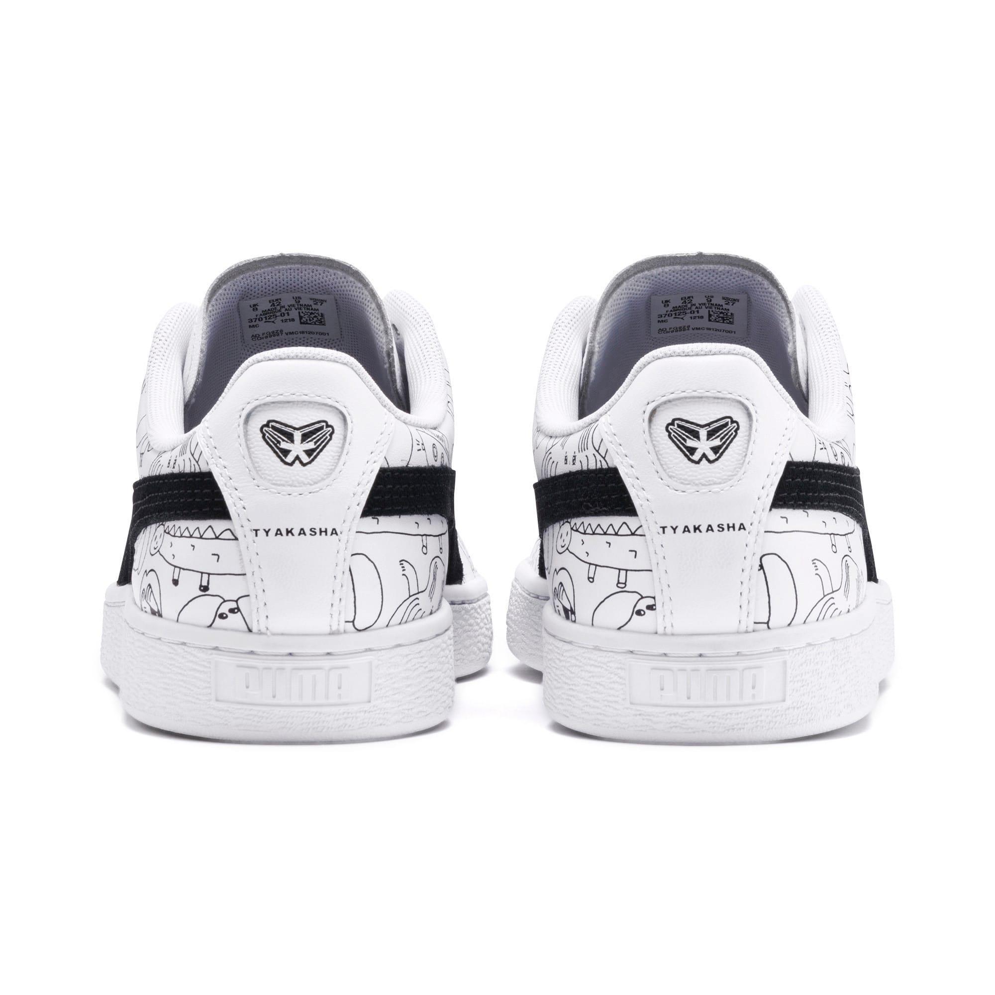 Thumbnail 5 of PUMA x TYAKASHA Basket Sneakers, Puma White-Puma Black, medium