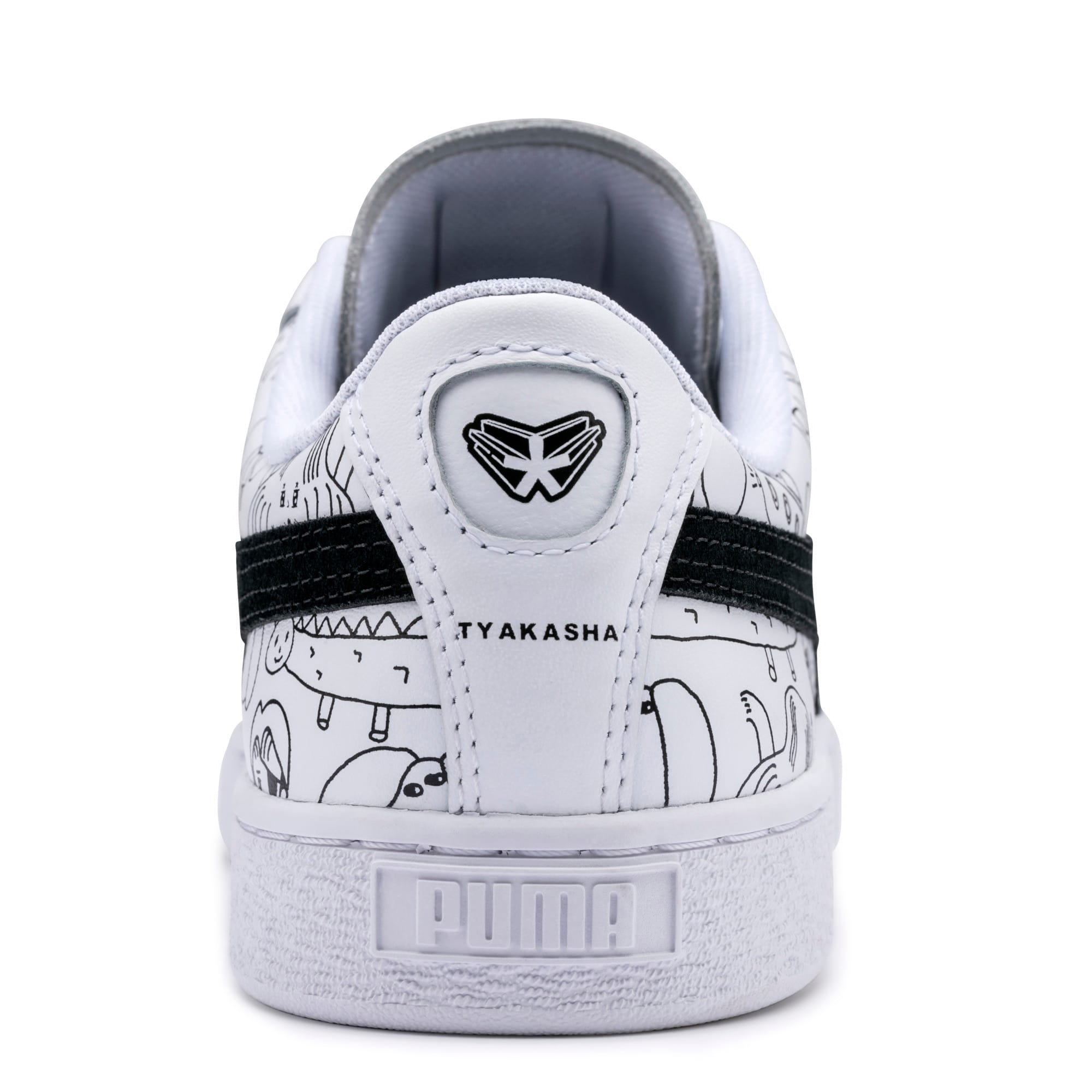 Thumbnail 10 of PUMA x TYAKASHA Basket Trainers, Puma White-Puma Black, medium