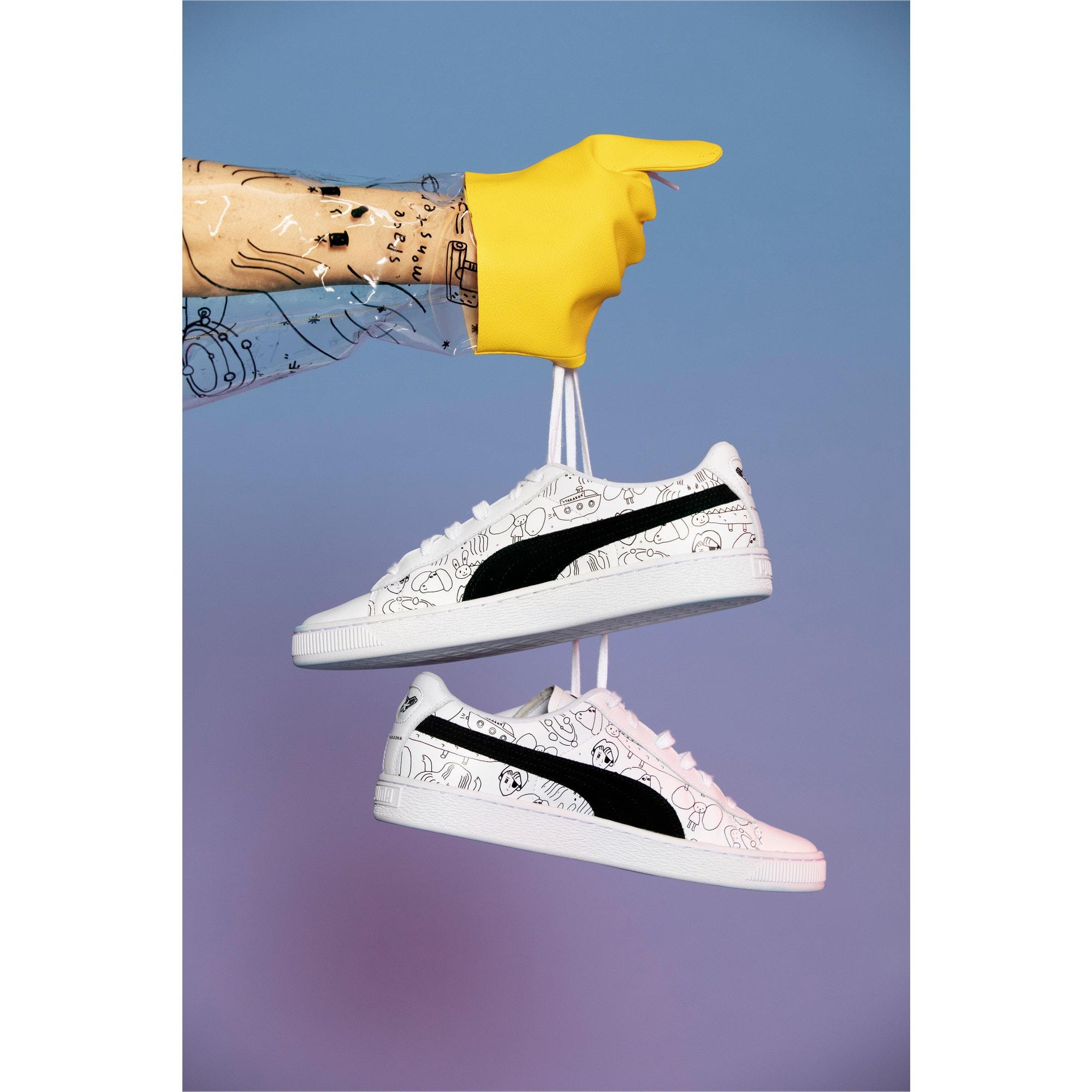 Thumbnail 11 of PUMA x TYAKASHA Basket Sneakers, Puma White-Puma Black, medium