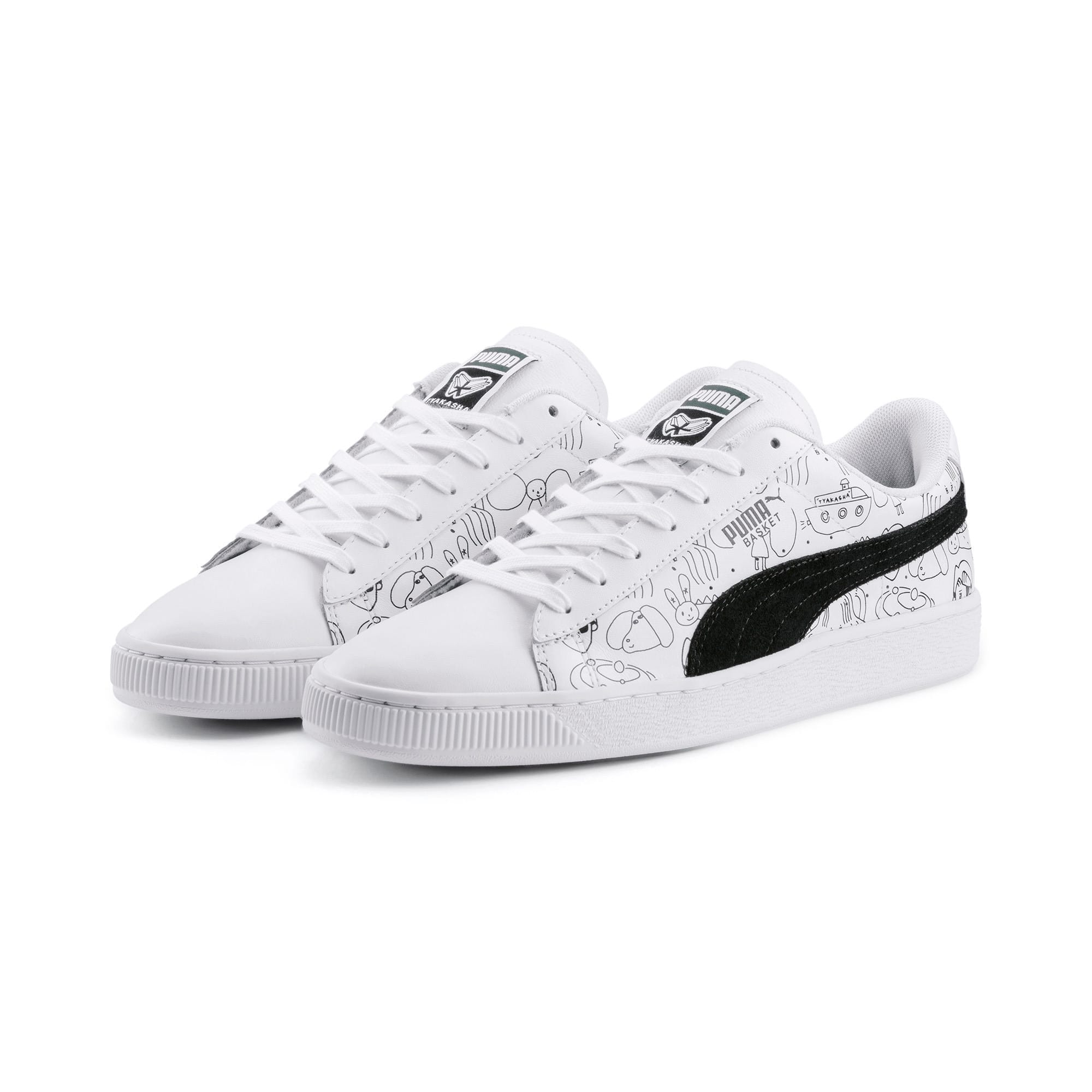 Thumbnail 4 of PUMA x TYAKASHA Basket Trainers, Puma White-Puma Black, medium