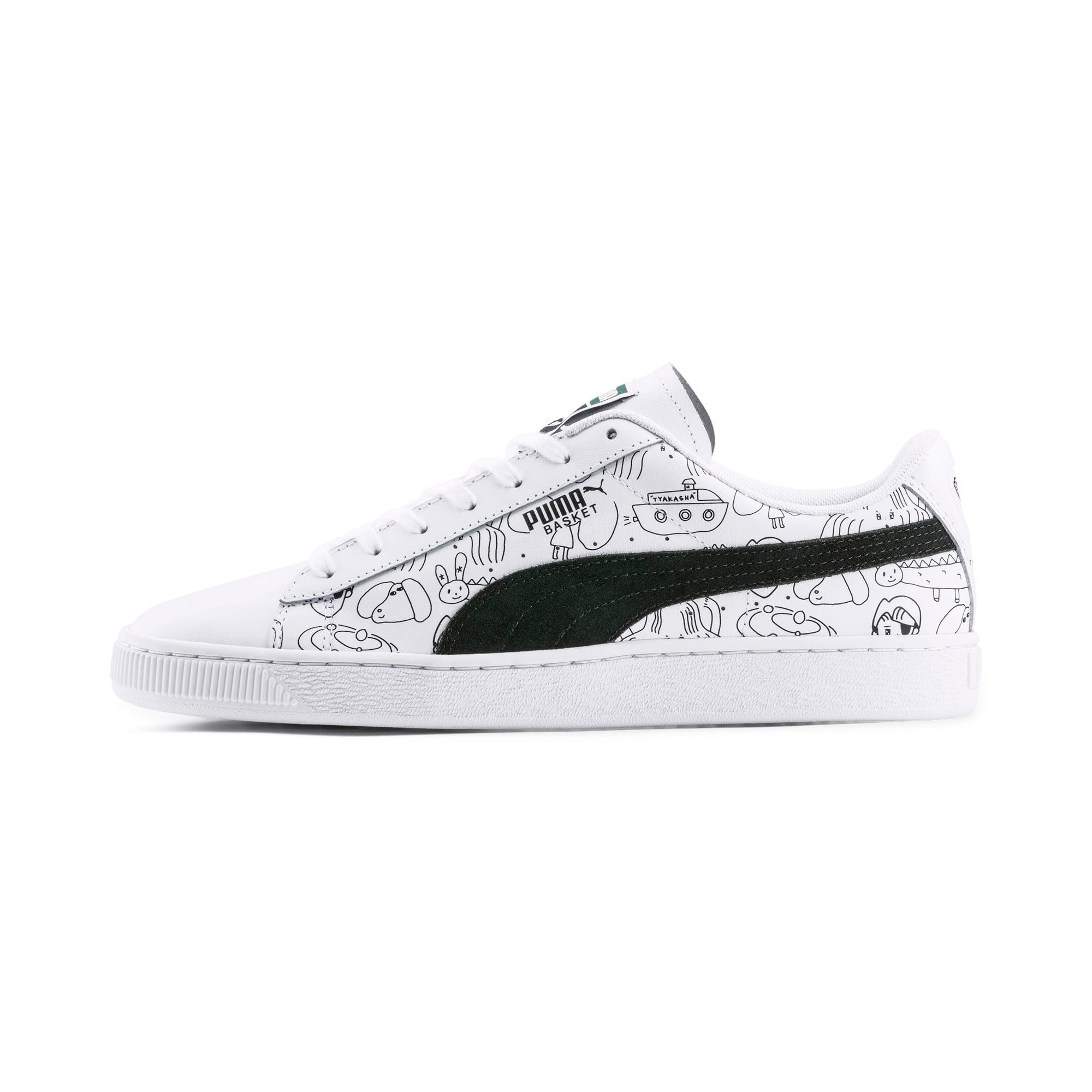 Thumbnail 1 of PUMA x TYAKASHA Basket Trainers, Puma White-Puma Black, medium