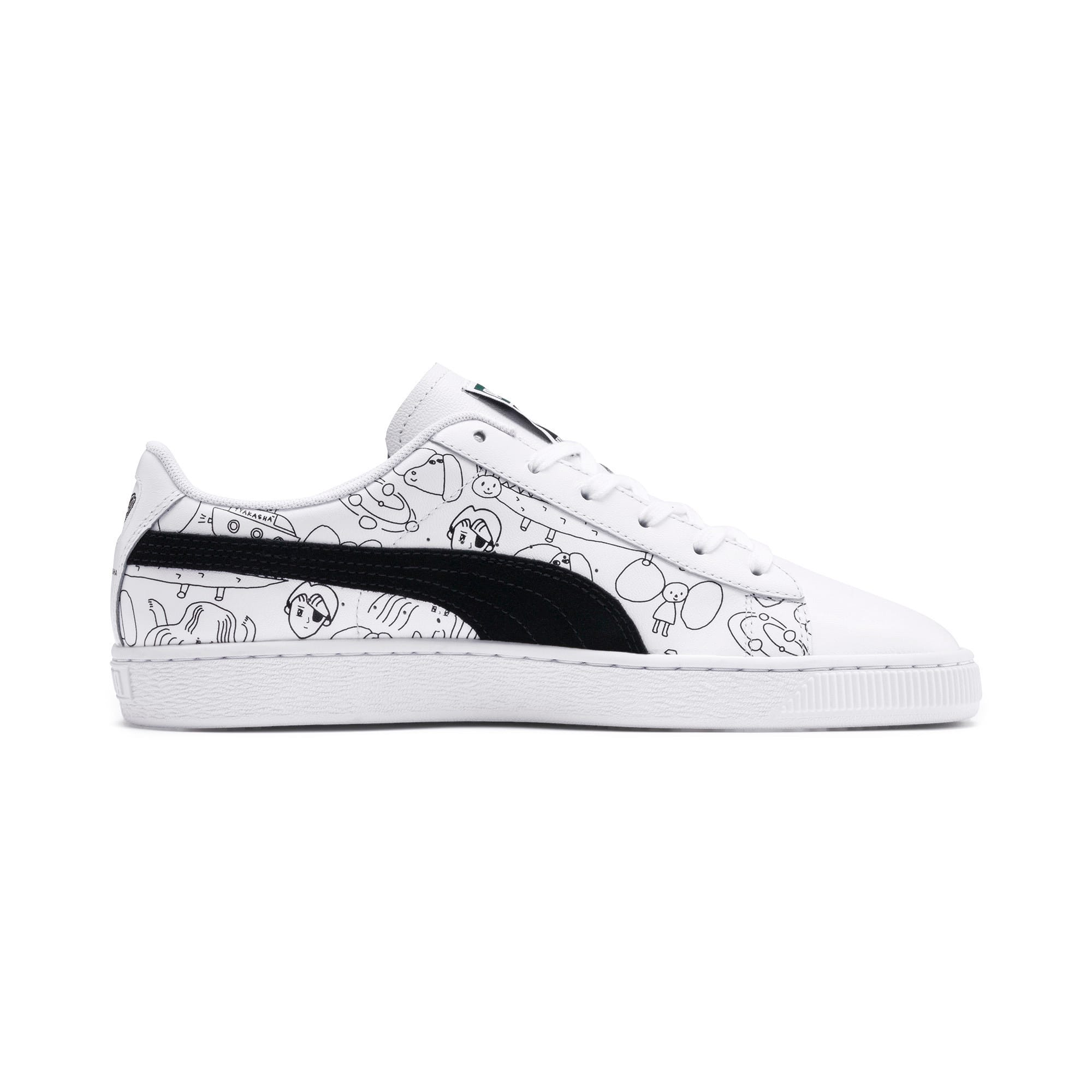 Thumbnail 7 of PUMA x TYAKASHA Basket Trainers, Puma White-Puma Black, medium
