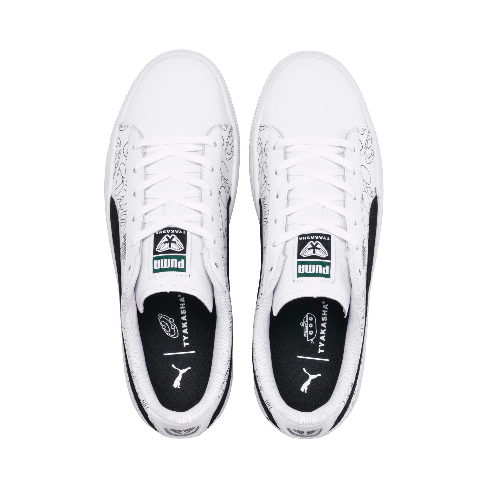 Thumbnail 8 of PUMA x TYAKASHA Basket Trainers, Puma White-Puma Black, medium