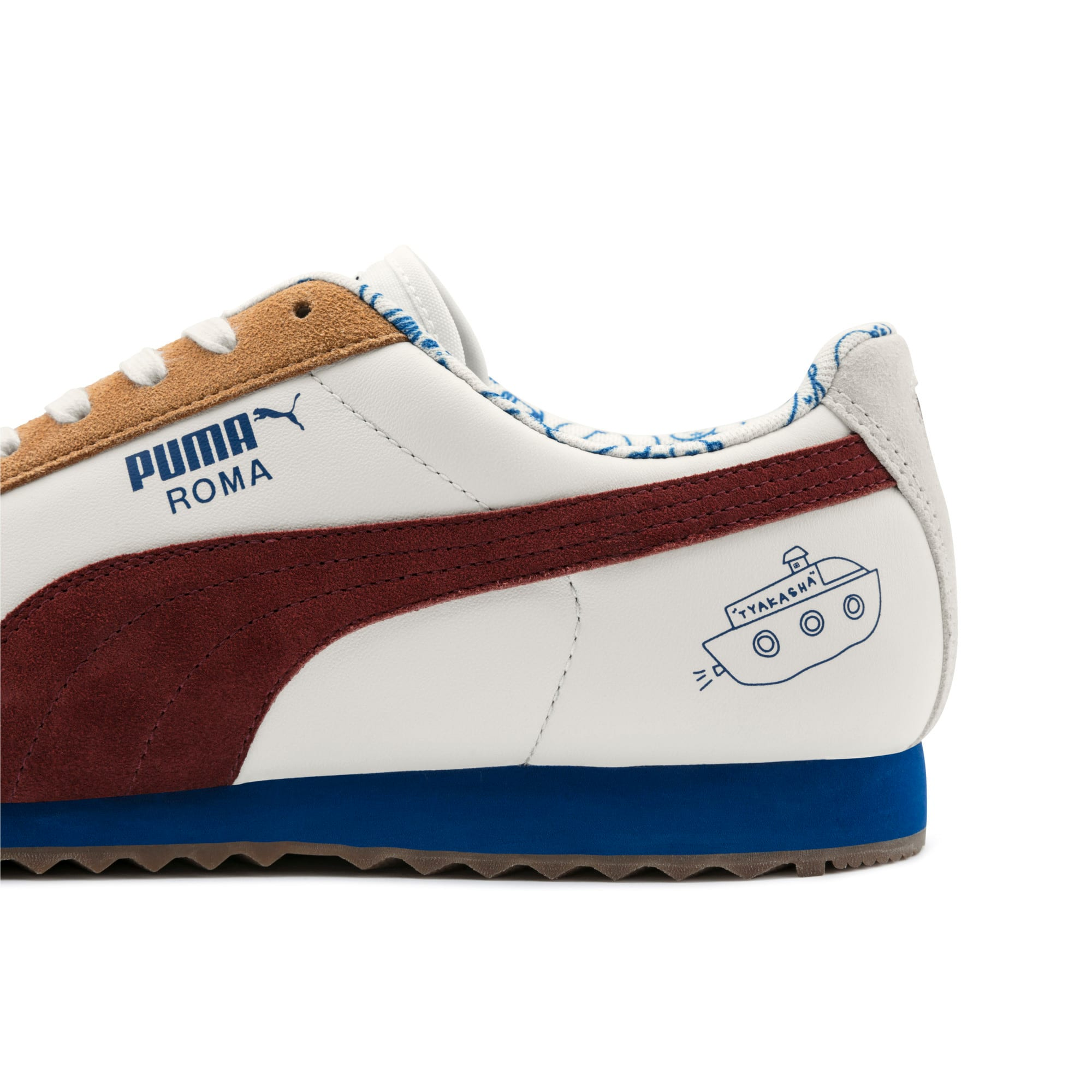 Thumbnail 9 of PUMA x TYAKASHA Roma Trainers, Marshmallow-Fired Brick, medium