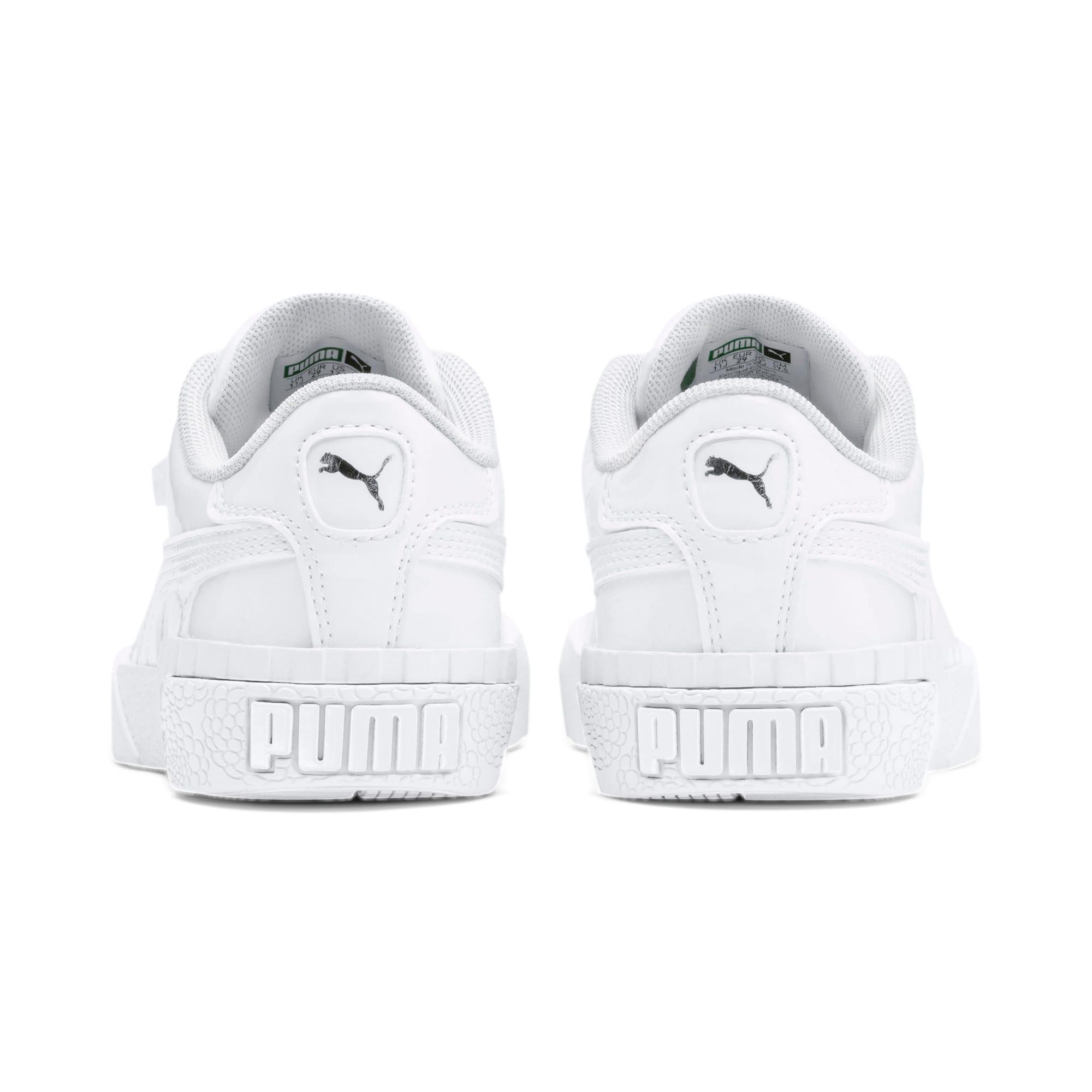 Thumbnail 3 of Cali Patent Kids' Trainers, Puma White-Puma White, medium