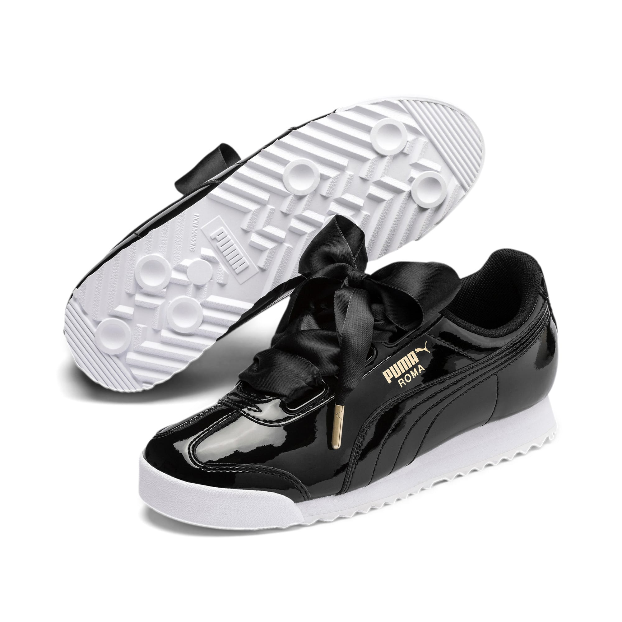Thumbnail 2 of Roma Heart Patent Women's Sneakers, Puma Black-Puma Team Gold, medium