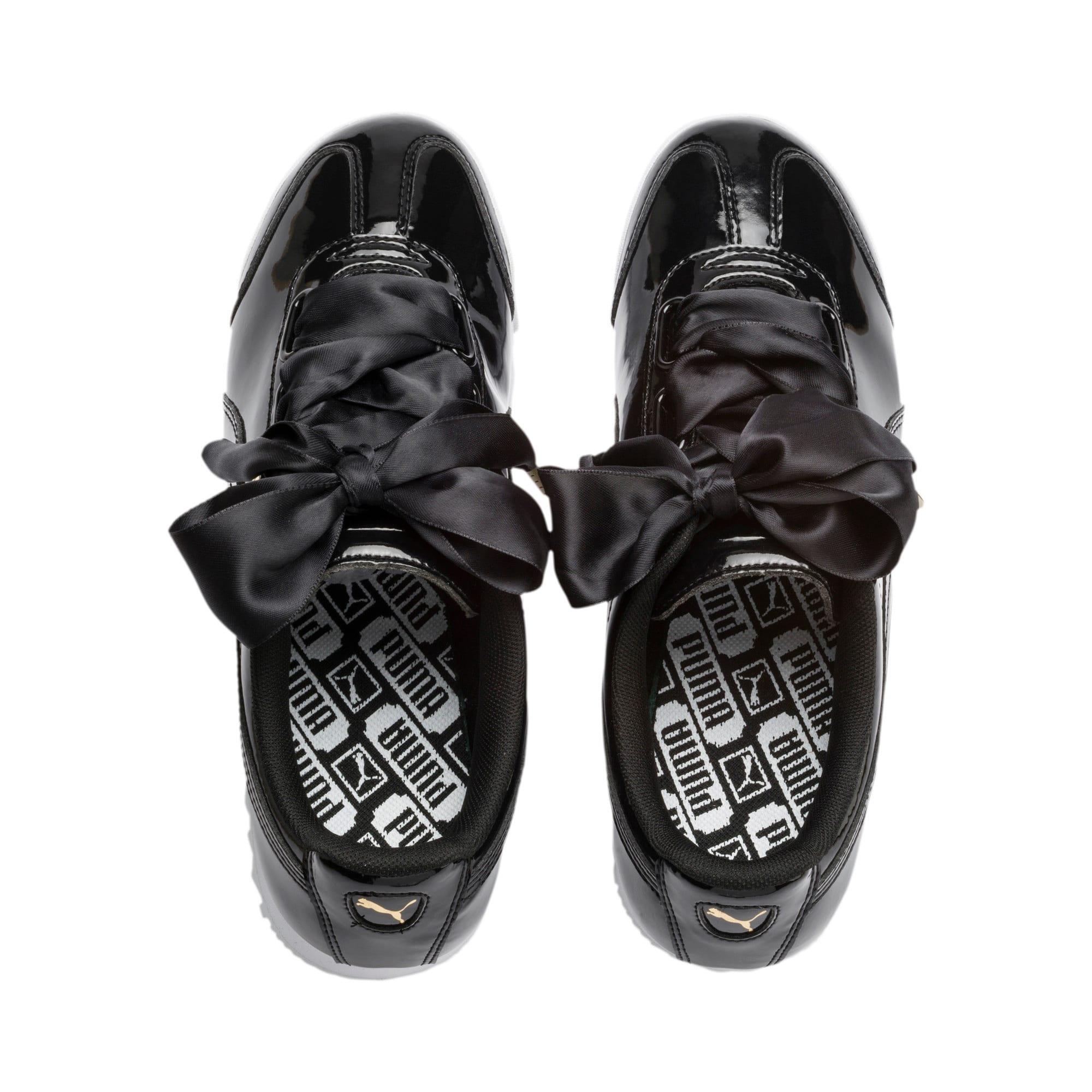 Thumbnail 7 of Roma Heart Patent Women's Sneakers, Puma Black-Puma Team Gold, medium