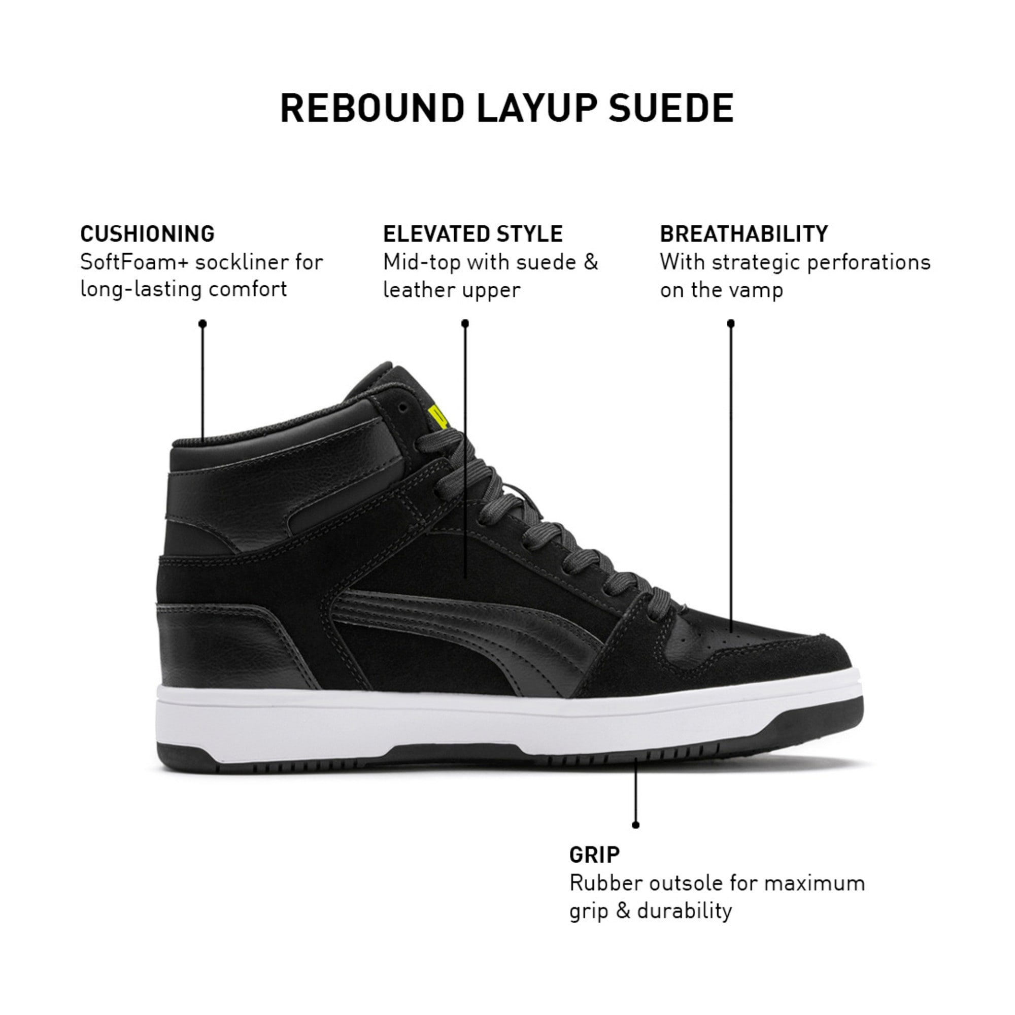 Thumbnail 9 of Rebound Layup Suede Trainers, Black-Yellow Alert-White, medium-IND