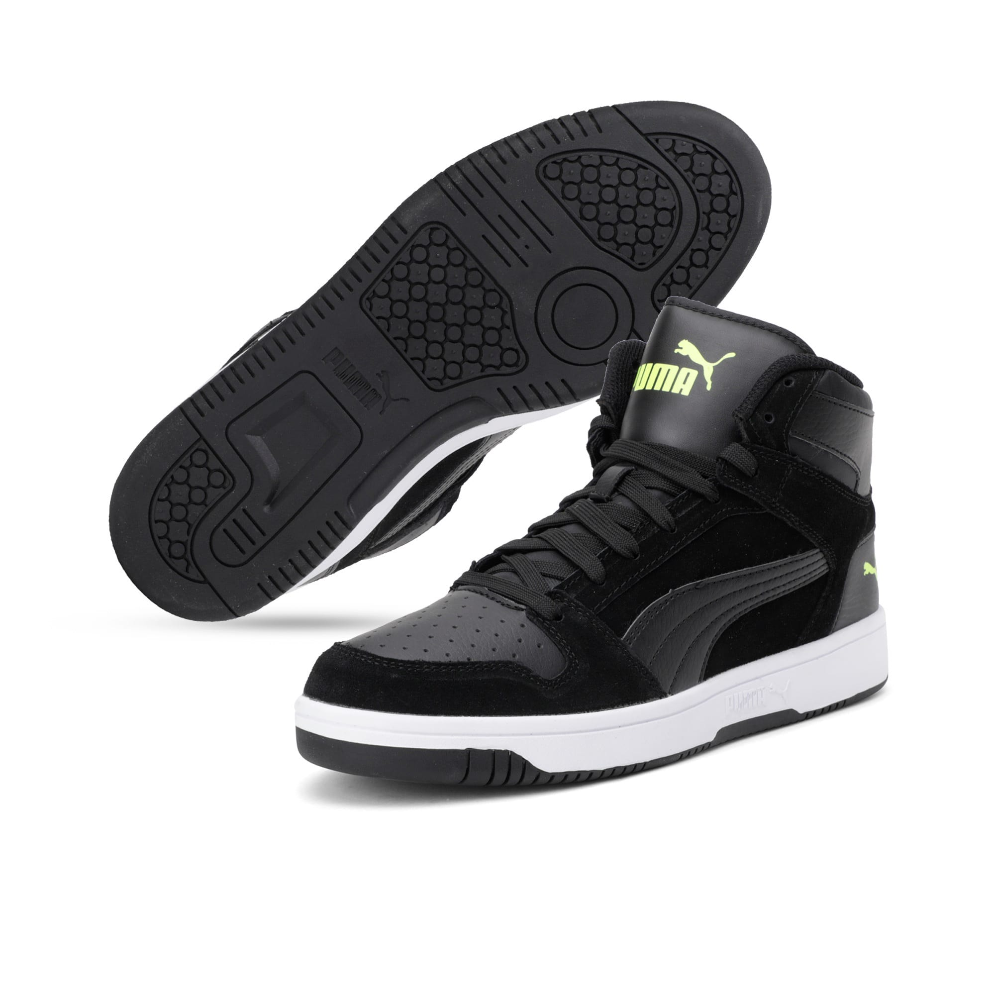 Thumbnail 4 of Rebound Layup Suede Trainers, Black-Yellow Alert-White, medium-IND
