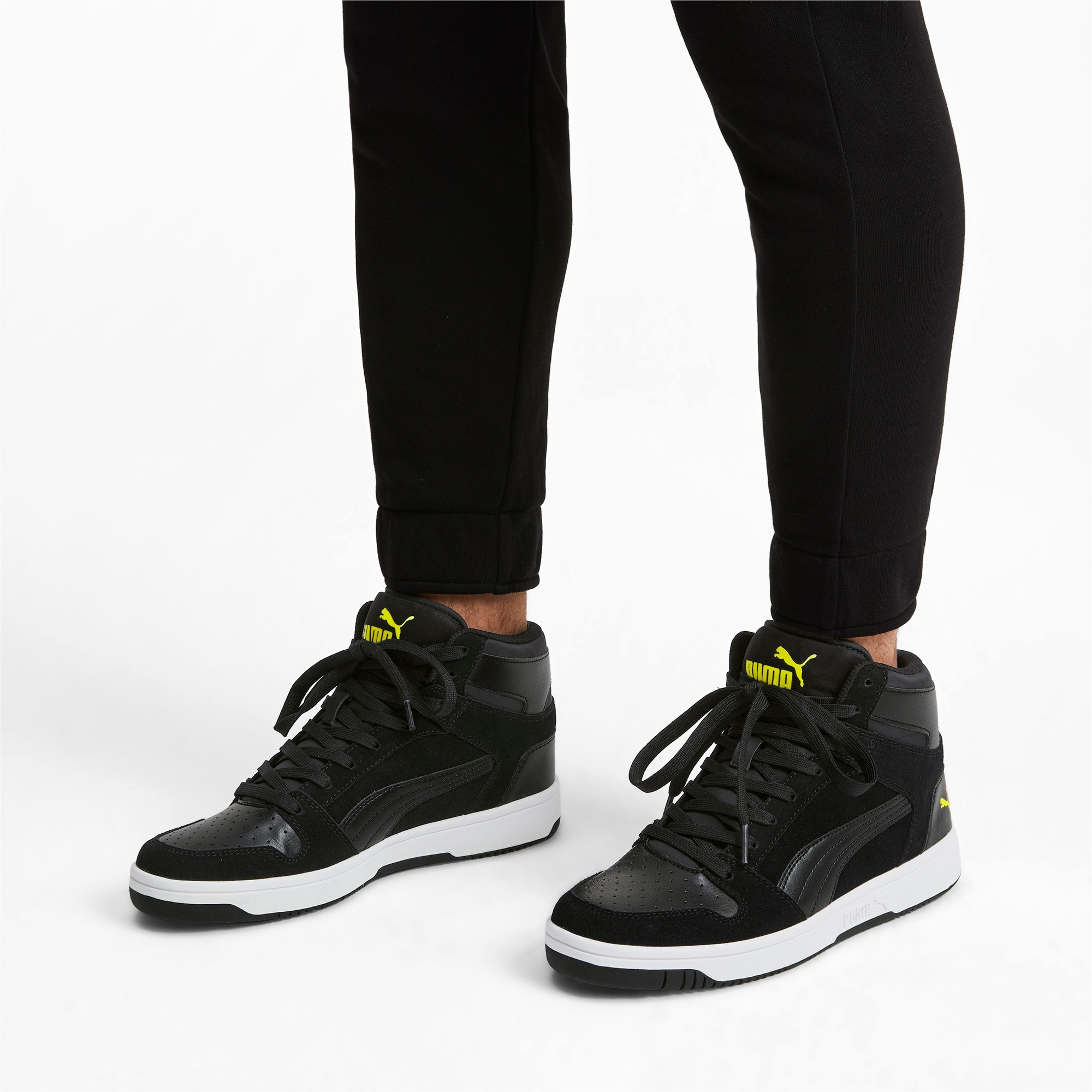 Thumbnail 2 of Rebound Layup Suede Trainers, Black-Yellow Alert-White, medium-IND