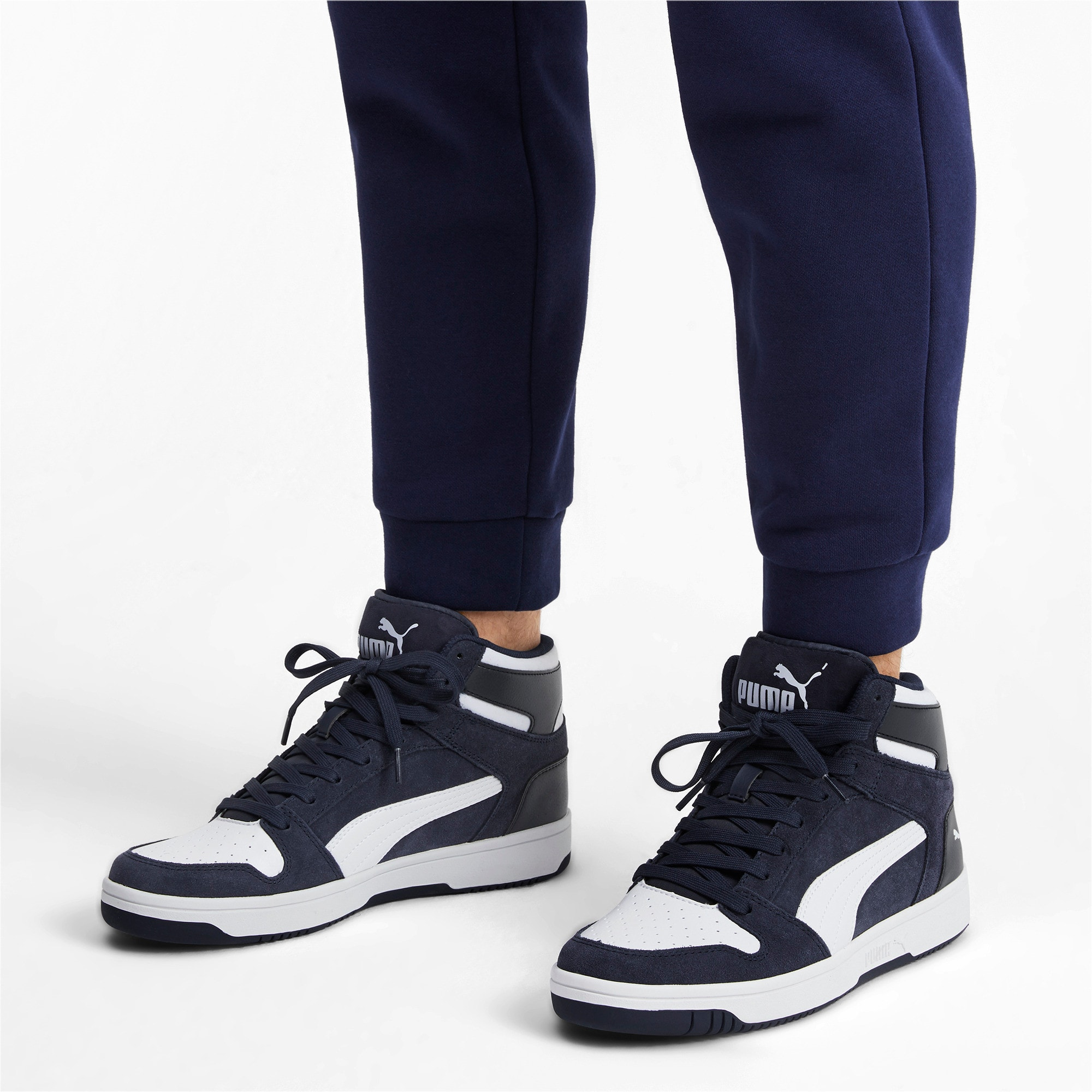 Thumbnail 3 of Rebound Layup Suede Trainers, Peacoat-Puma White, medium-IND