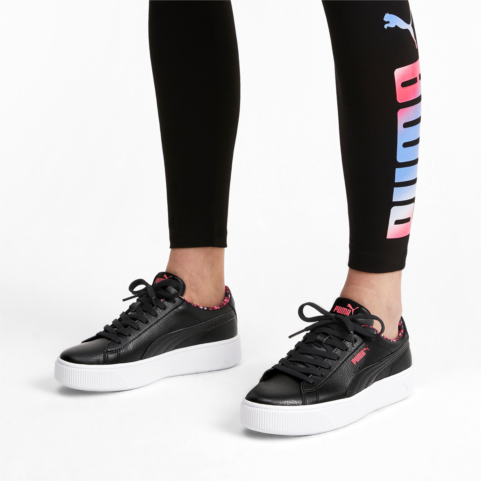 Thumbnail 3 of Vikky Stacked Neon Lights Women's Trainers, Puma Black-Puma Black- Coral, medium-IND