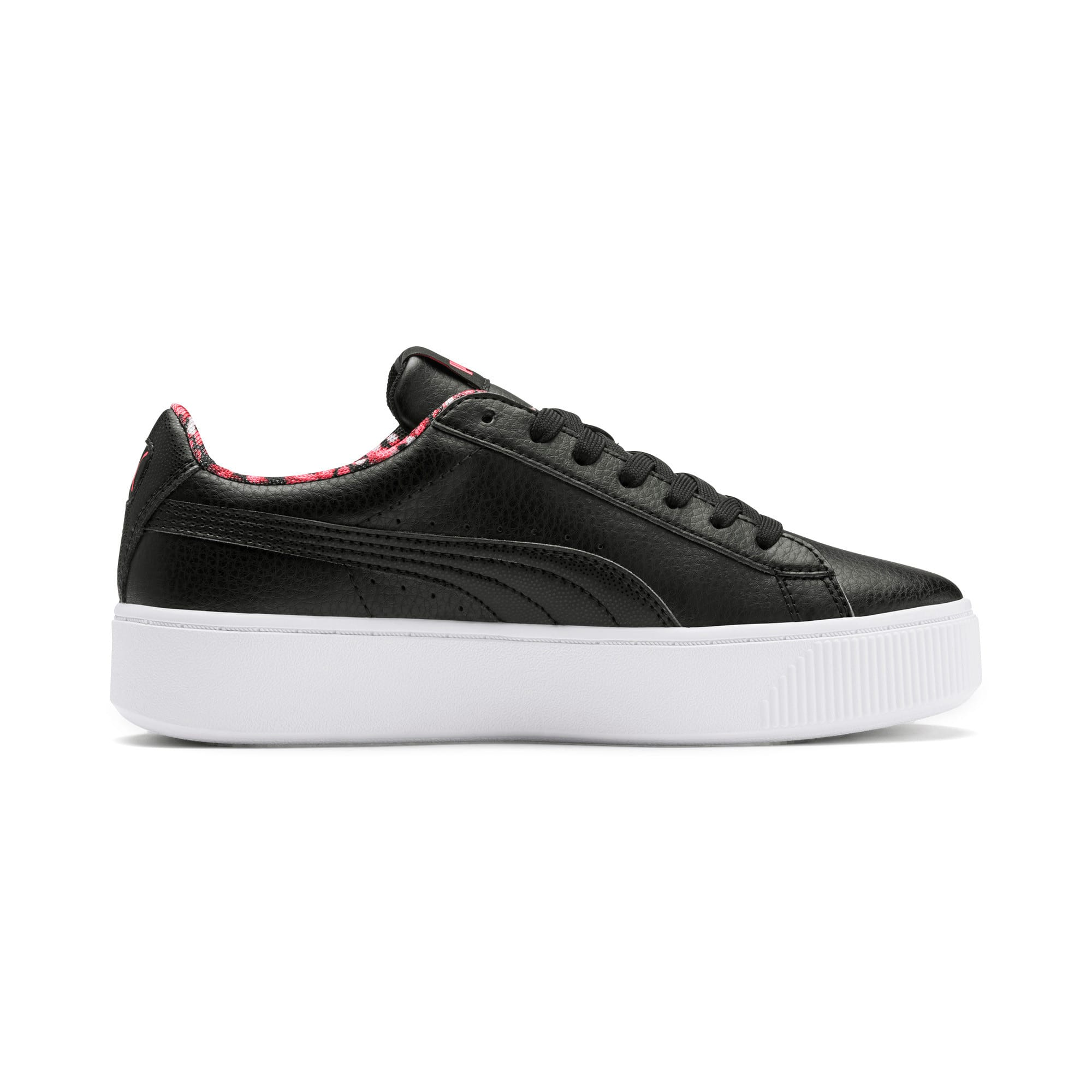 Thumbnail 6 of Vikky Stacked Neon Lights Women's Trainers, Puma Black-Puma Black- Coral, medium-IND