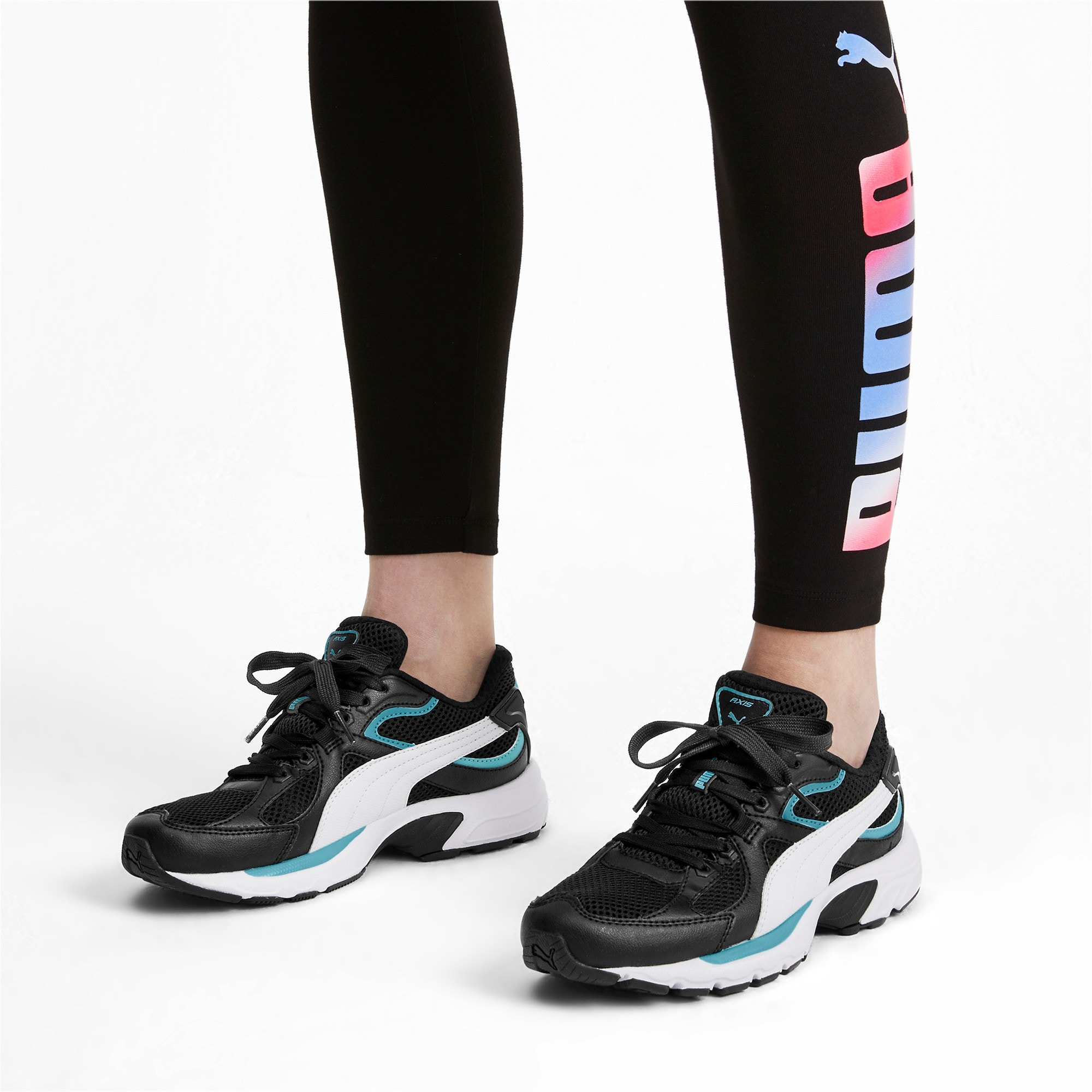 Thumbnail 4 of Axis Plus 90s Trainers, Puma Black-White-Milky Blue, medium-IND