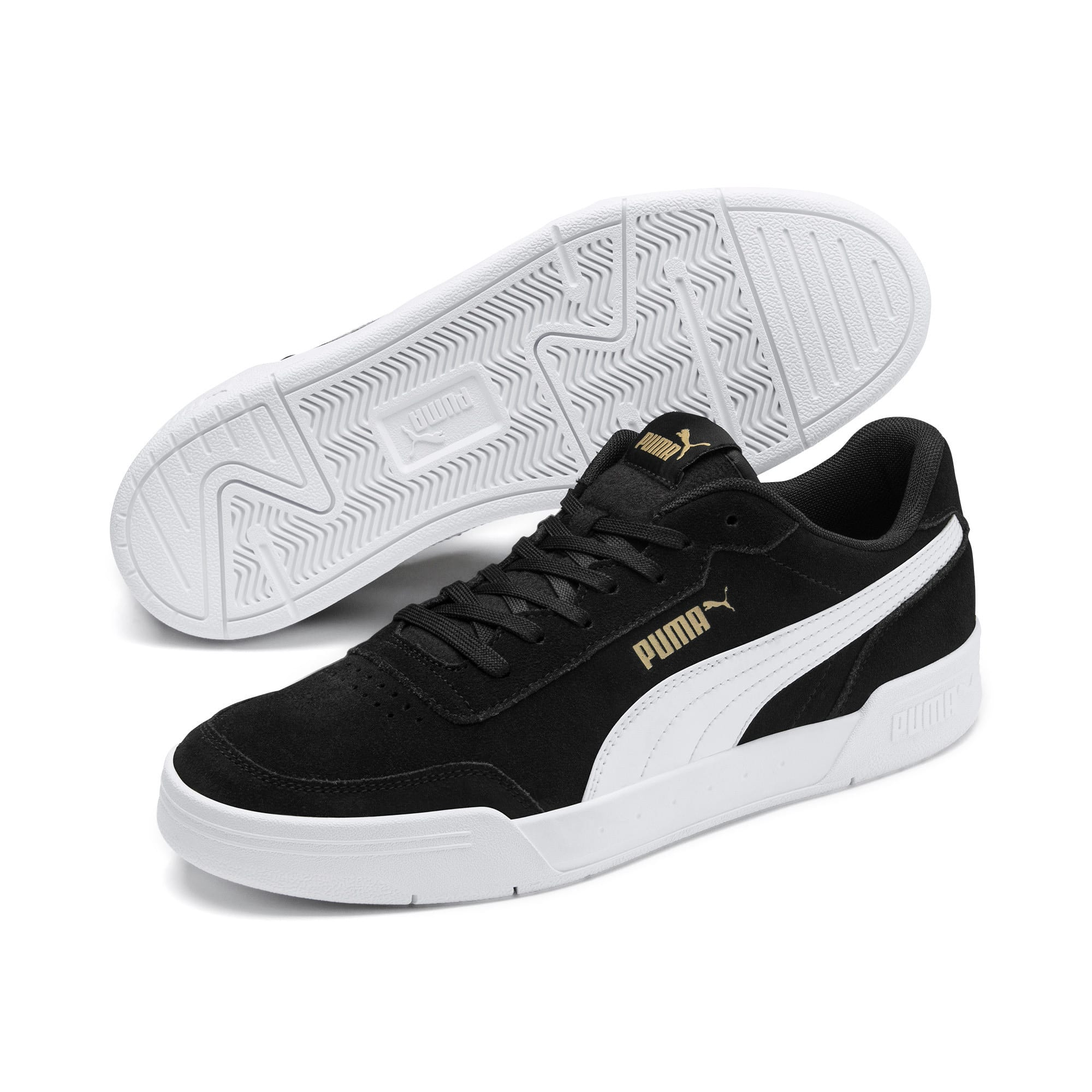 Thumbnail 4 of Caracal Suede Trainers, P.Black-P.White-P. Team Gold, medium-IND