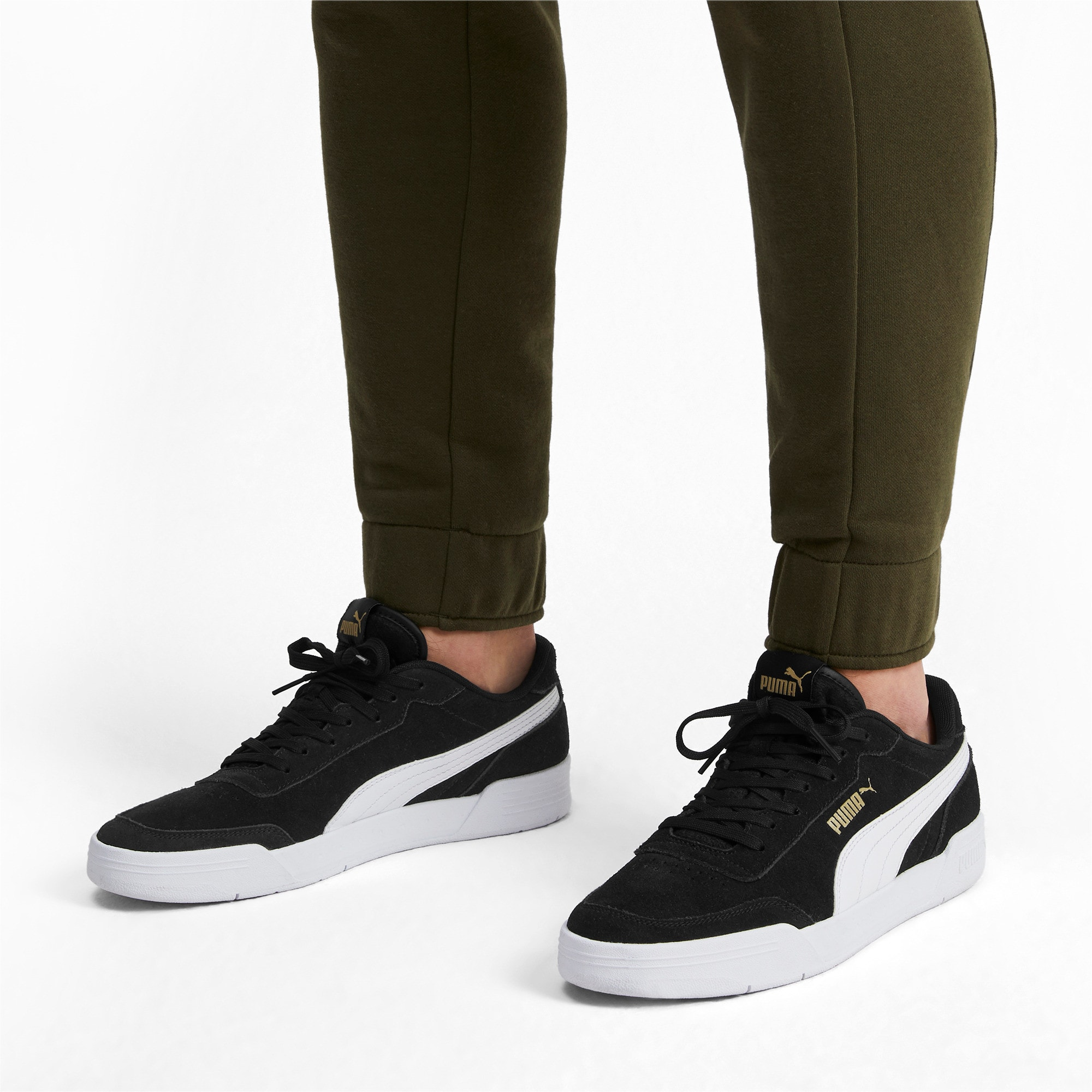 Thumbnail 2 of Caracal Suede Trainers, P.Black-P.White-P. Team Gold, medium-IND