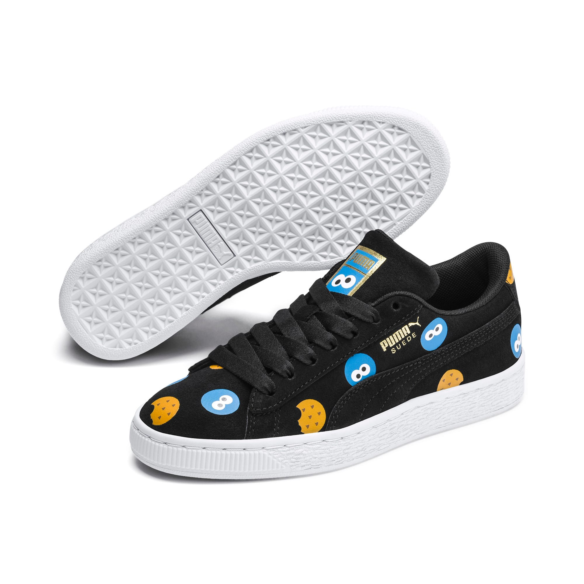 Thumbnail 4 of PUMA x SESAME STREET 50 Suede Badge Sneakers JR, Puma Black-Bleu Azur, medium