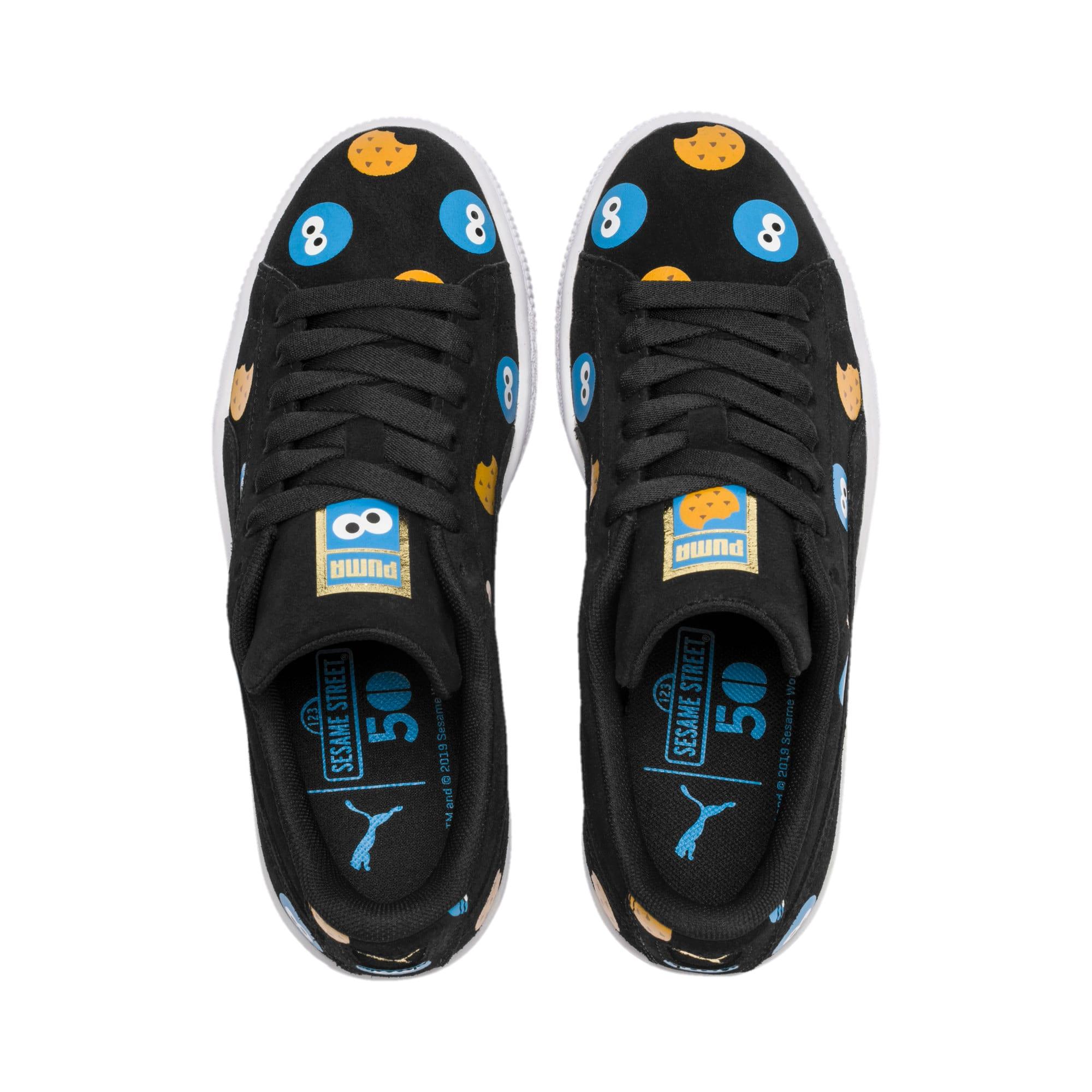 Thumbnail 5 of PUMA x SESAME STREET 50 Suede Badge Sneakers JR, Puma Black-Bleu Azur, medium
