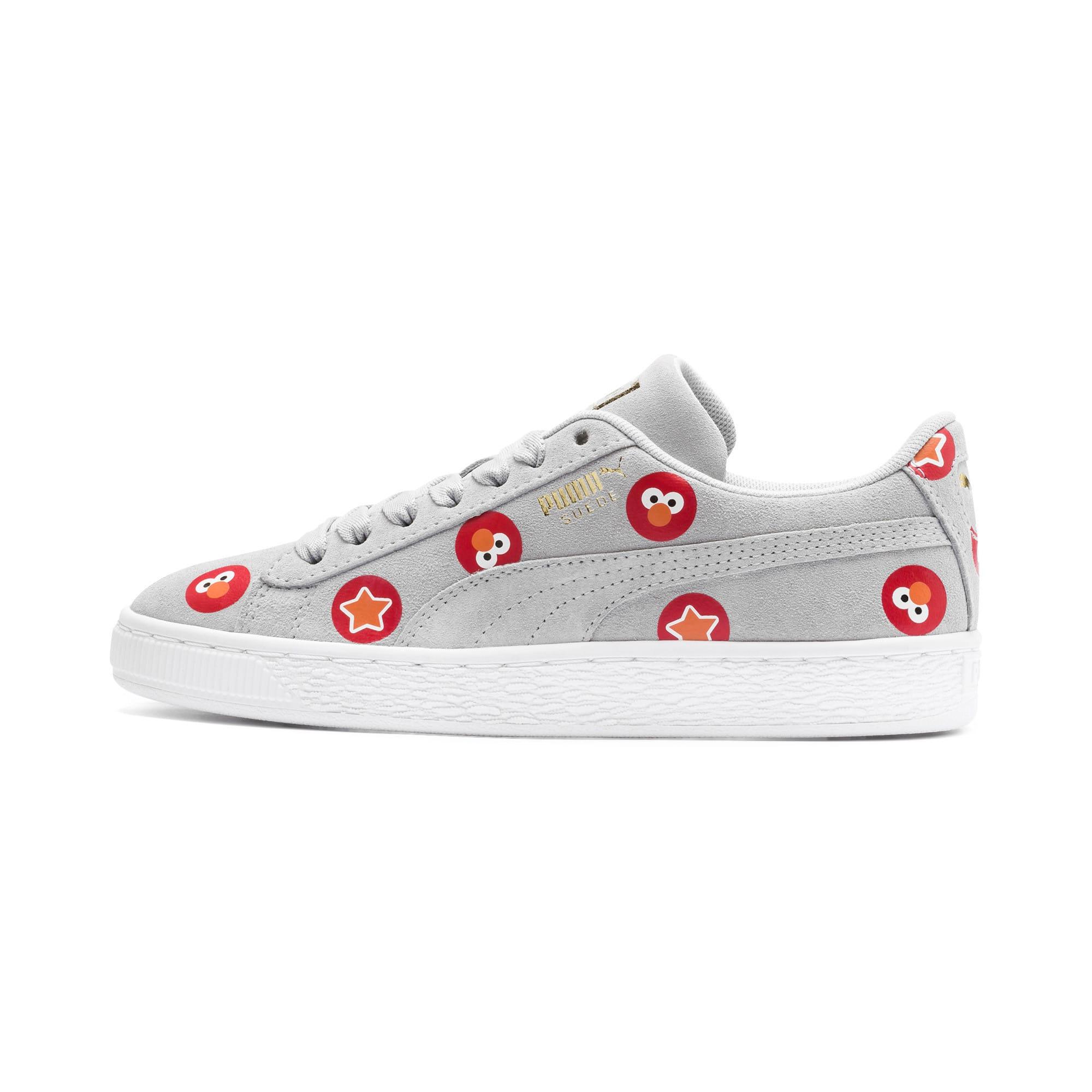 Thumbnail 1 of PUMA x SESAME STREET 50 Suede Badge Sneakers JR, Grey Dawn-High Risk Red, medium
